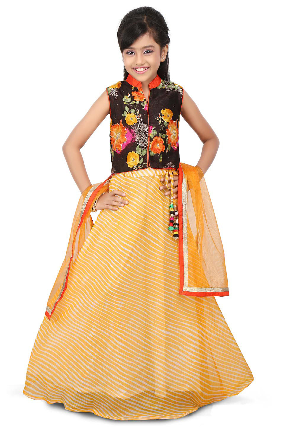 Lehariya Georgette A Line Lehenga in Yellow