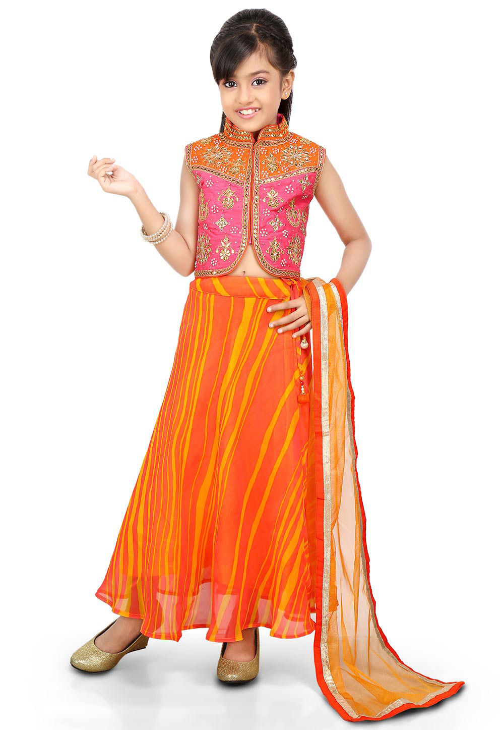 Lehariya Georgette A Line Lehenga in Orange
