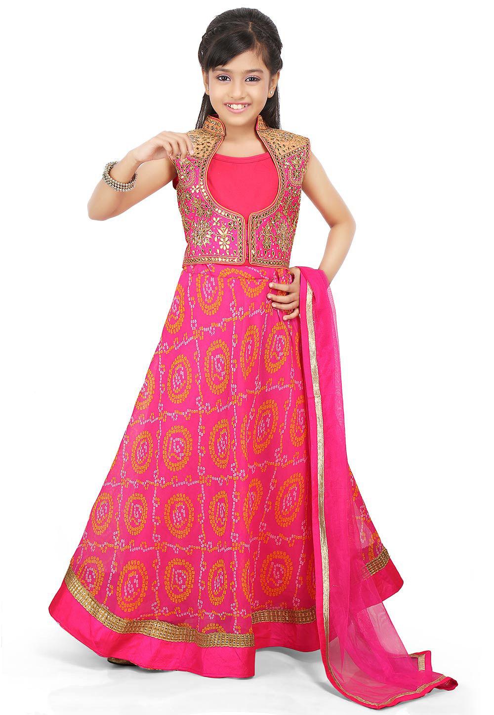 Bandhej Georgette A Line Lehenga in Pink