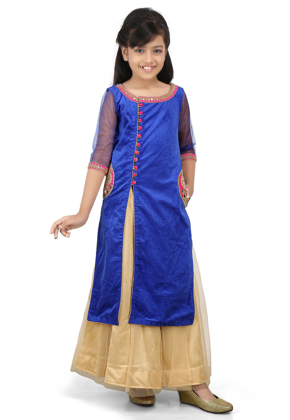 Plain Net Circular Lehenga in Beige and Blue