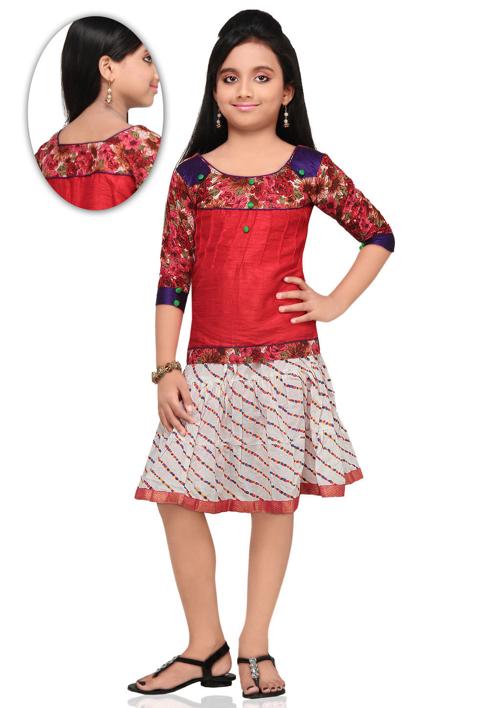 Printed Dupion Silk Dress in Red