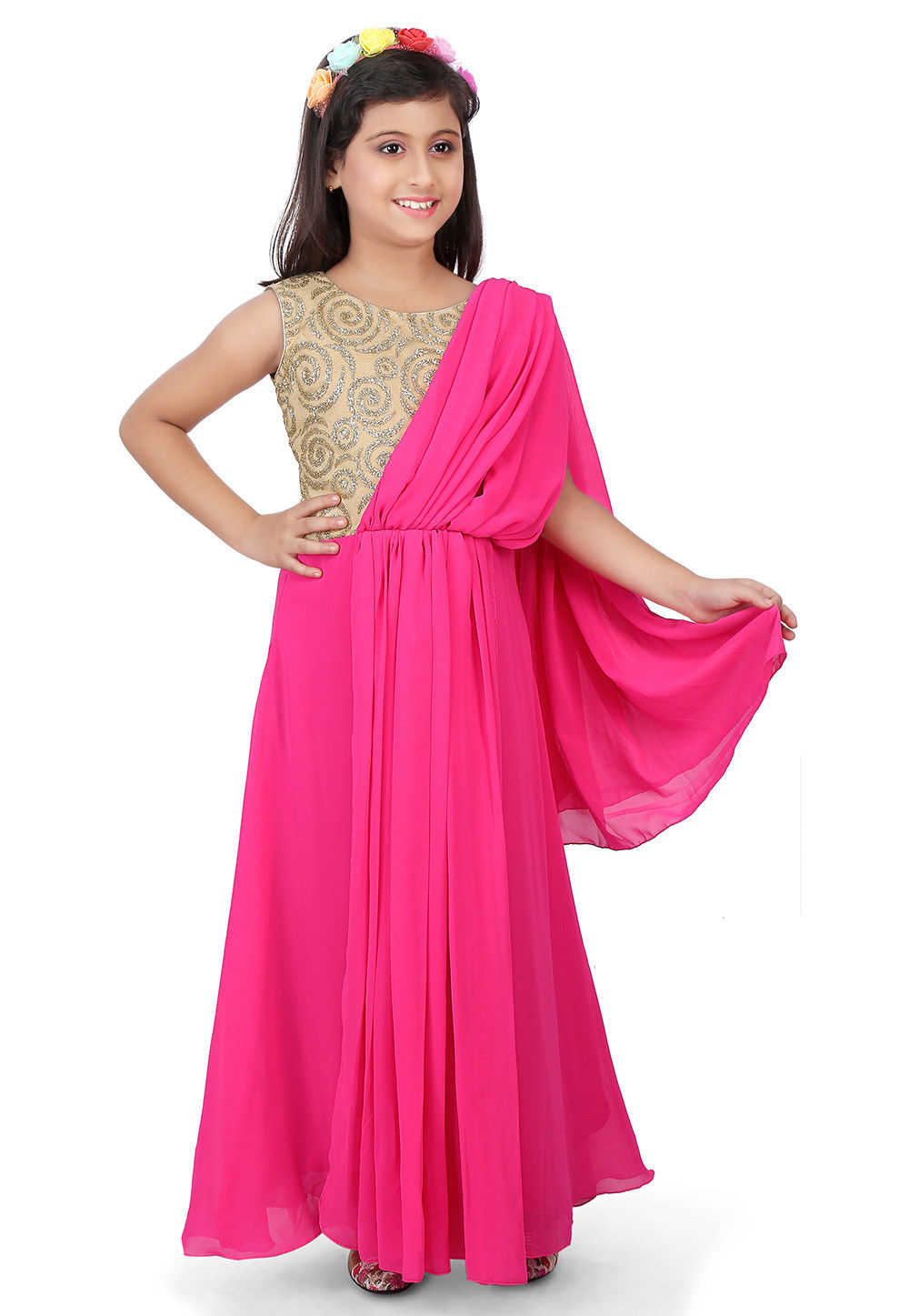 Embroidered Georgette Saree Style Gown in Beige and Fuchsia