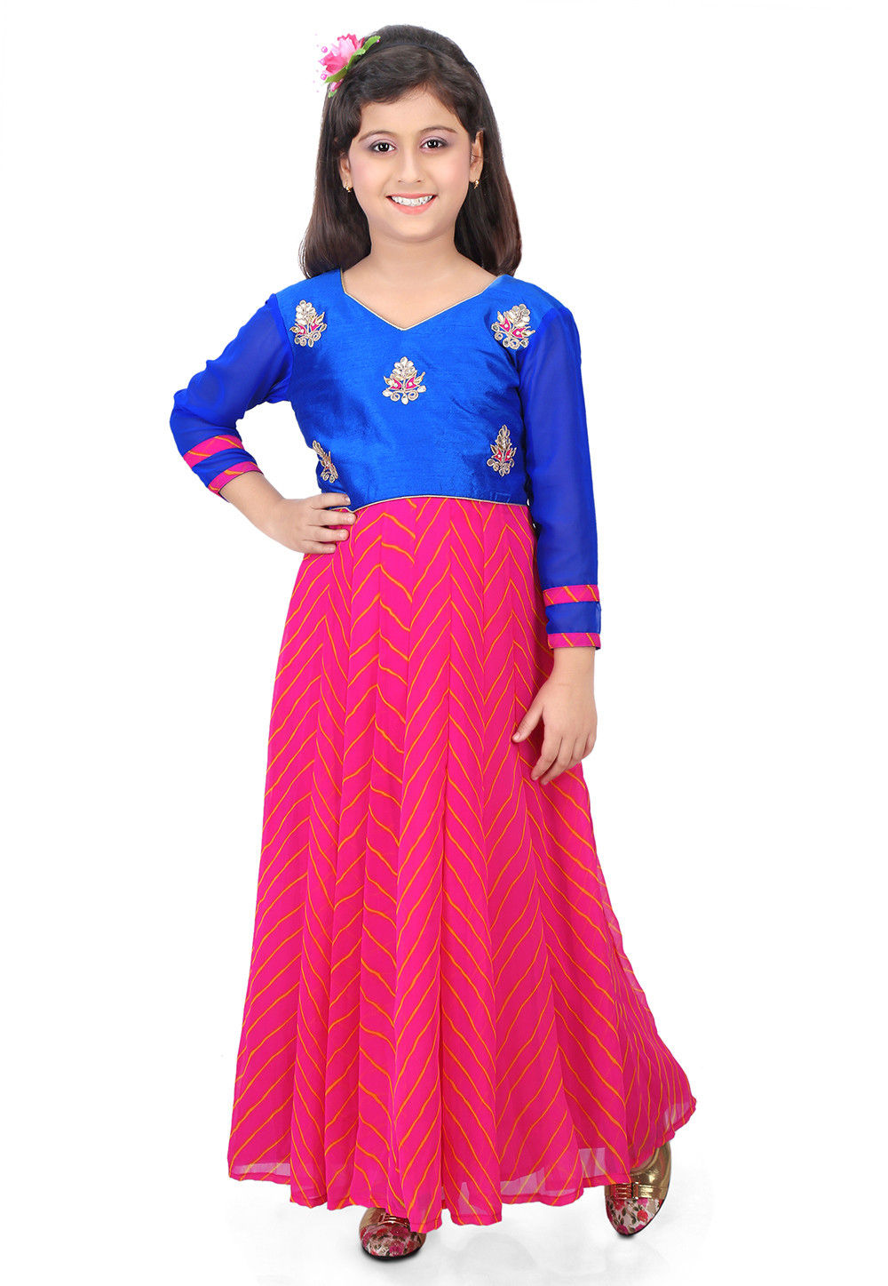 Gota Patti Georgette Abaya Style Suit in Pink and Blue
