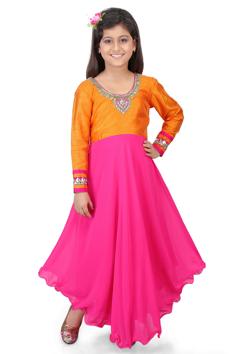 Gota Patti Georgette Asymmetric Suit in Pink and Mustard