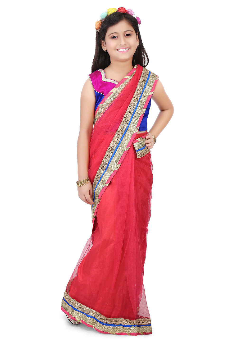 Patch Border Net Saree in Red