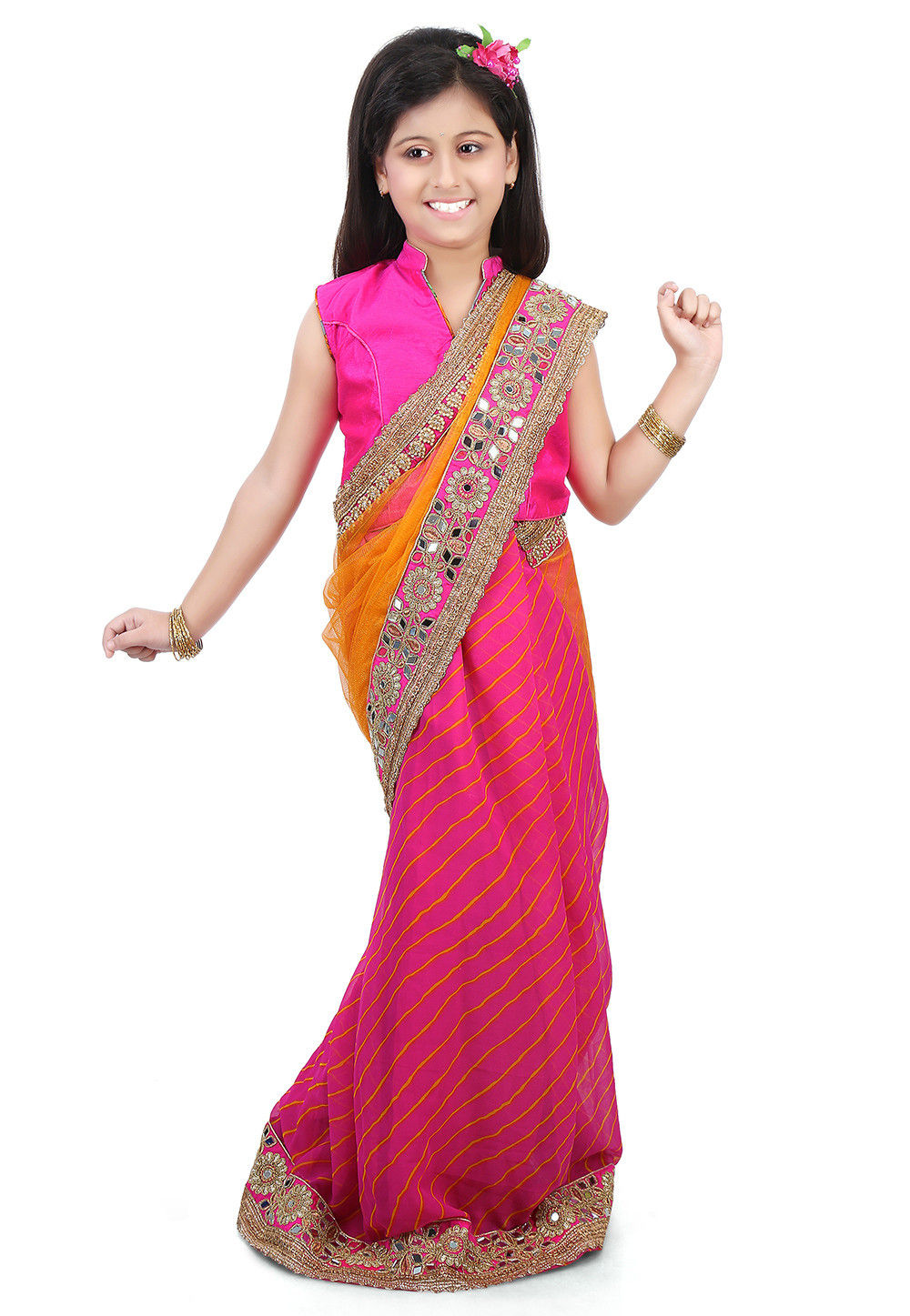 Embroidered Border Net Half N Half Saree in Mustard and Pink