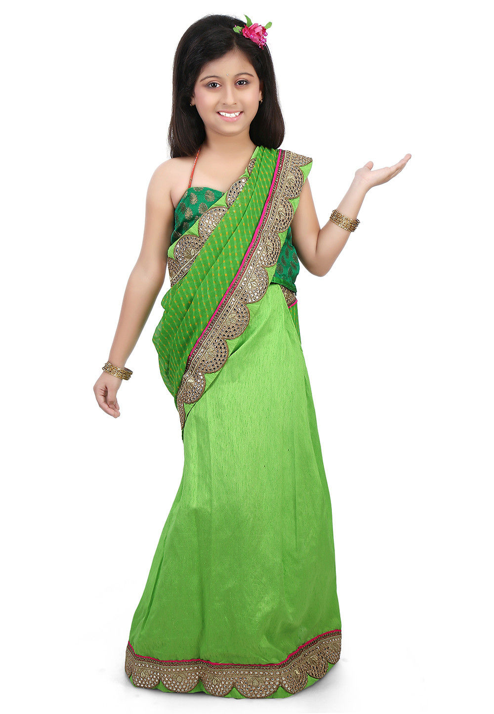 Leheriya Georgette Half N Half Saree in Green