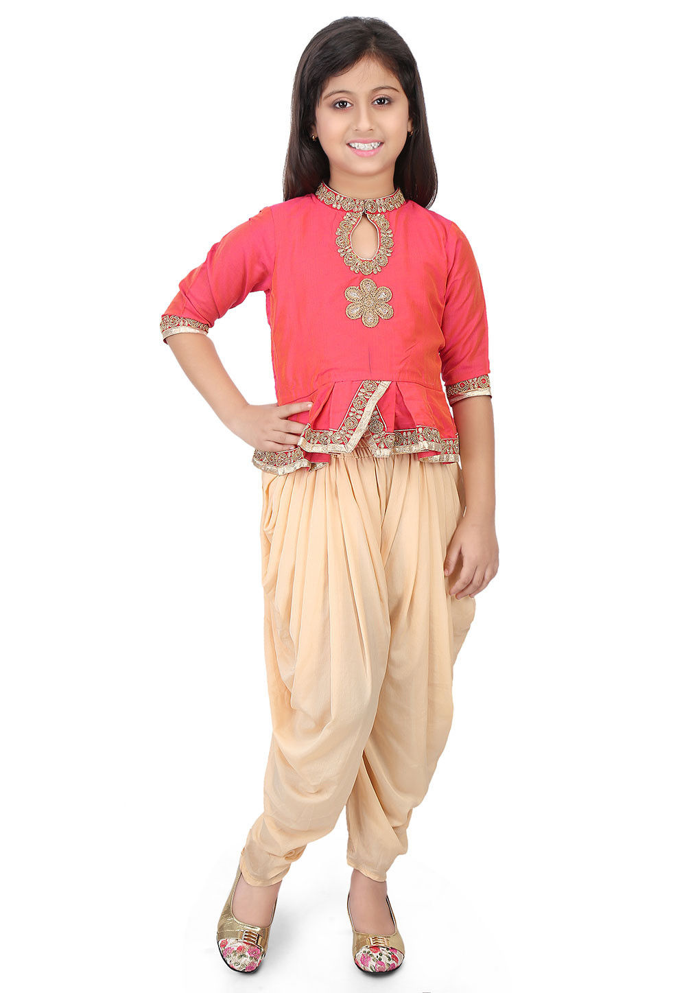 Embroidered Cotton Silk Top with Dhoti Pant in Orange and Pink