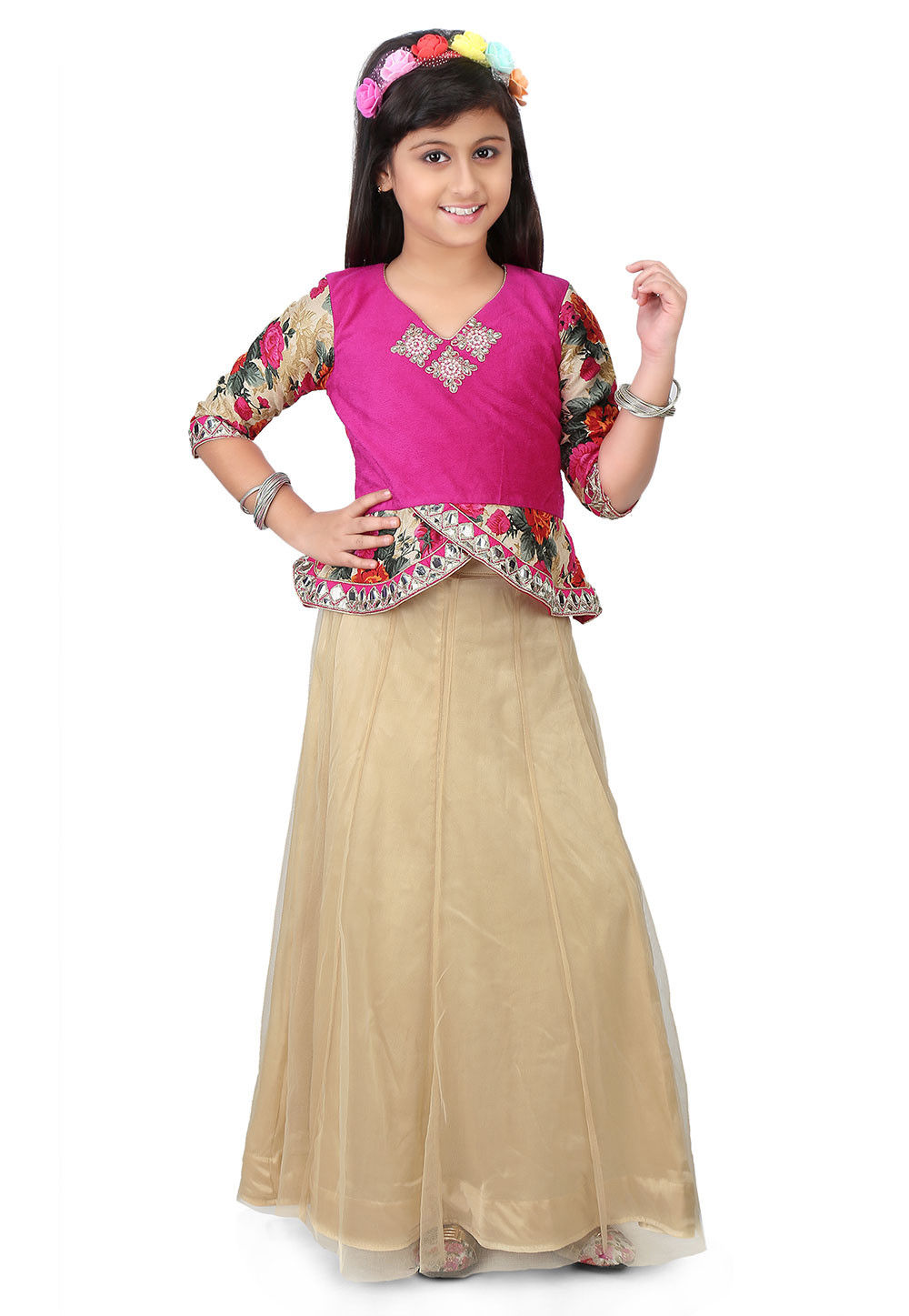 Printed Velvet Top with Skirt in Fuchsia and Beige