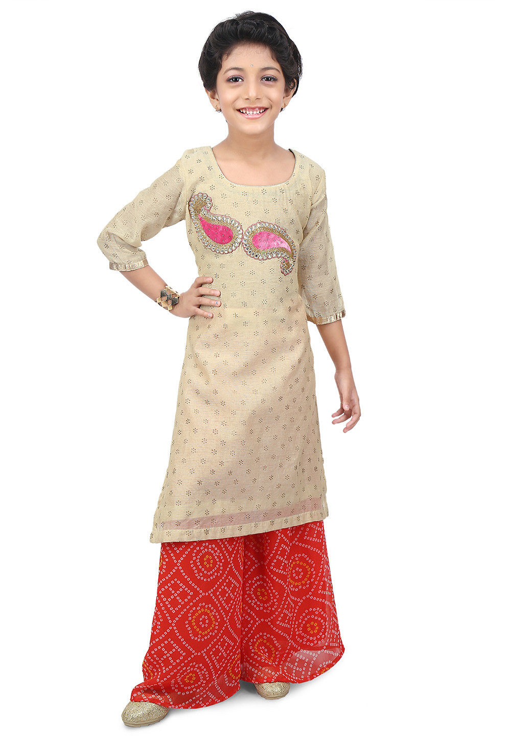Printed Chanderi Cotton Long Kurta Set in Beige