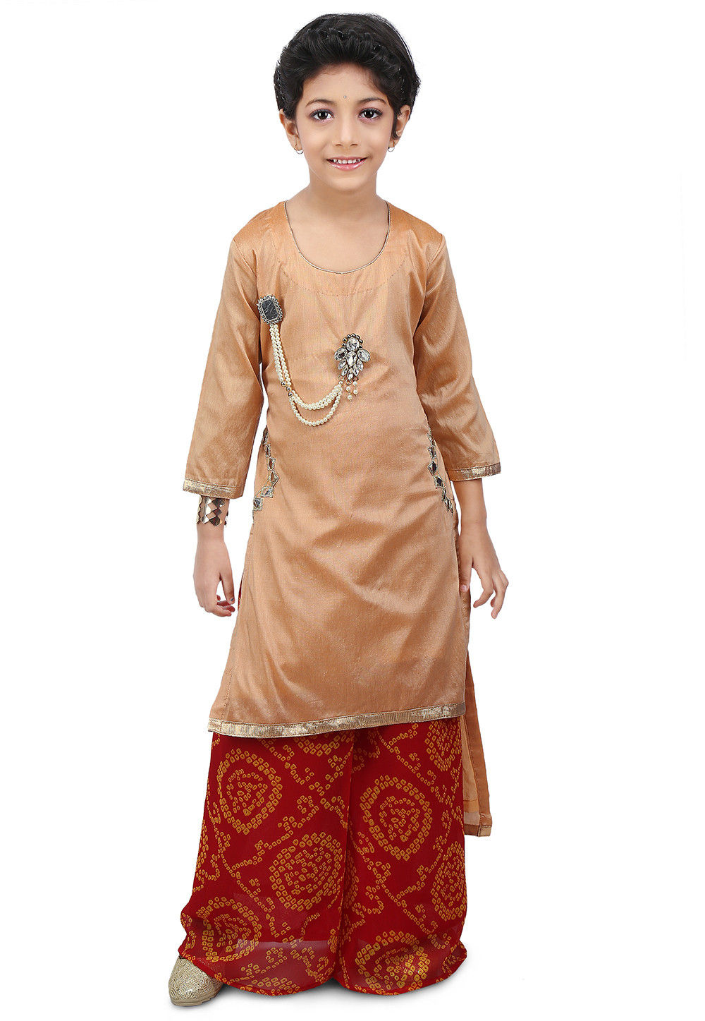 Embroidered Cotton Silk High Low Long Kurta  Set in Beige