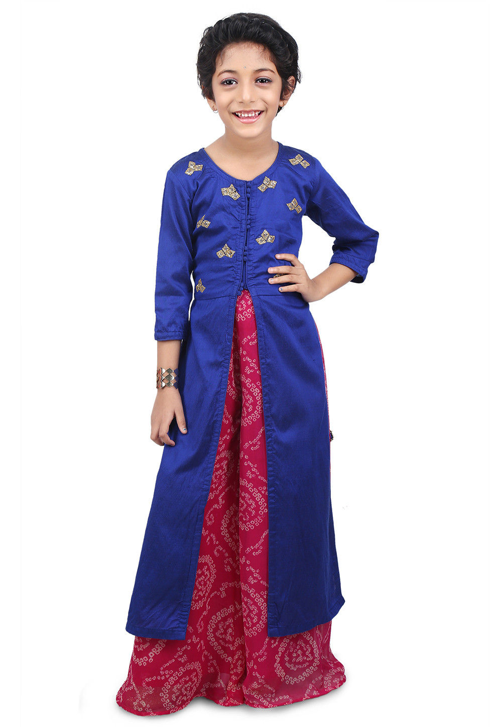 Embroidered Cotton Silk Jacket Style Long Kurta Set in Navy Blue