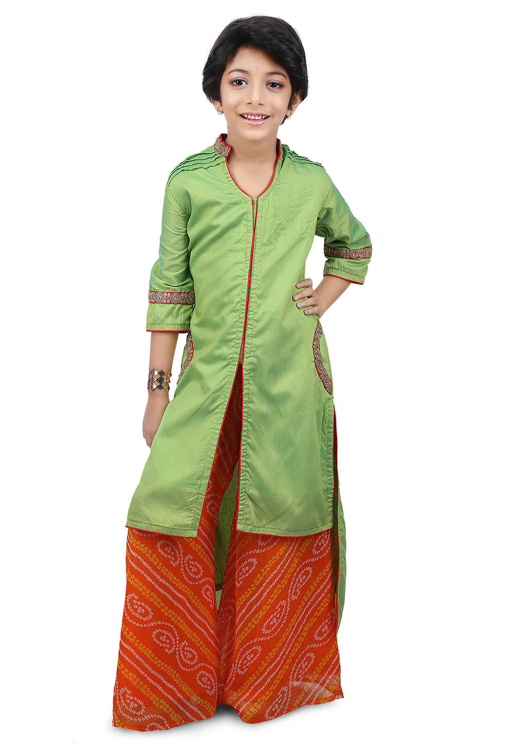 Plain Cotton Silk Jacket Style Long Kurta Set in Green