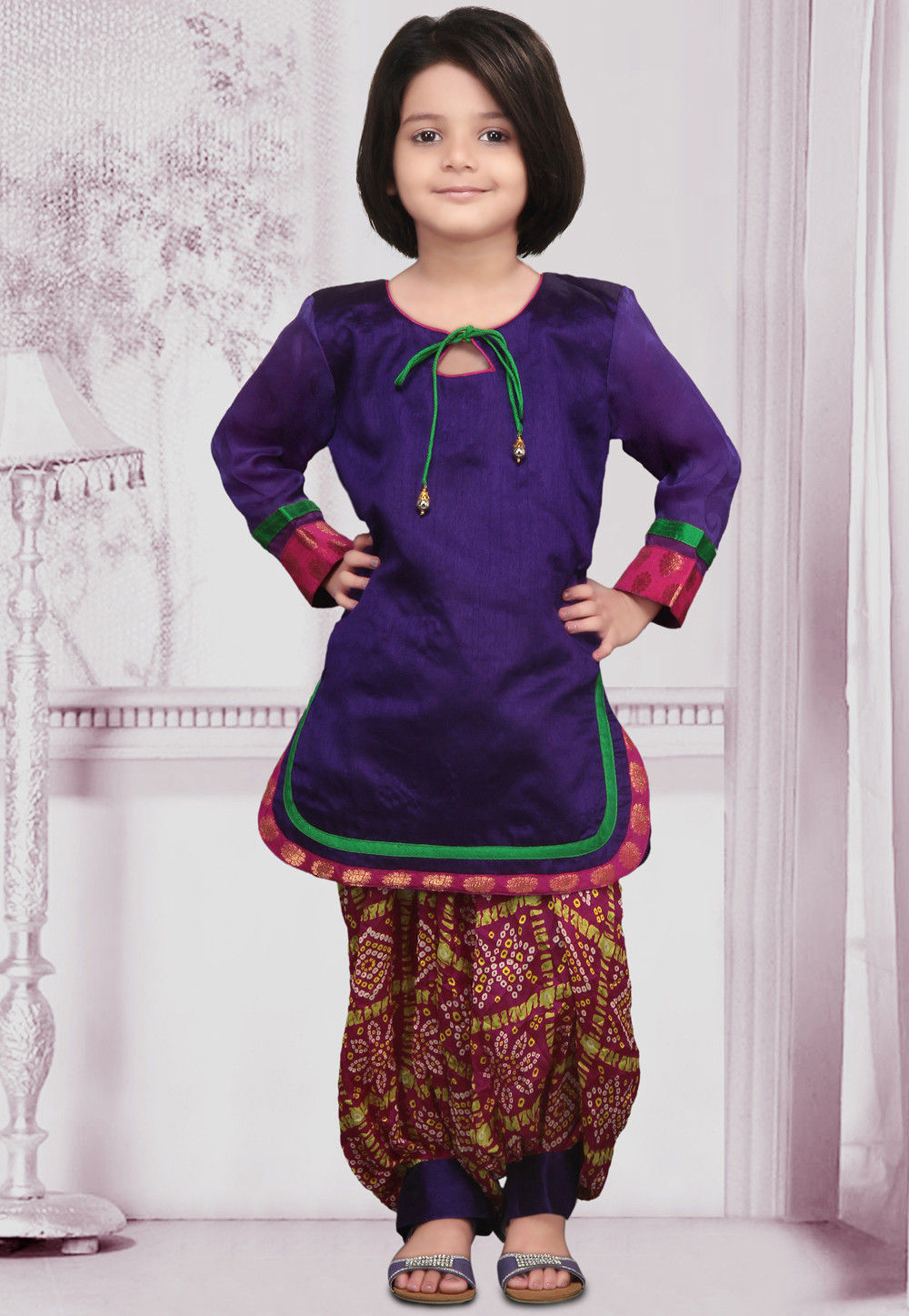Purple Dupion Kameez With Salwar