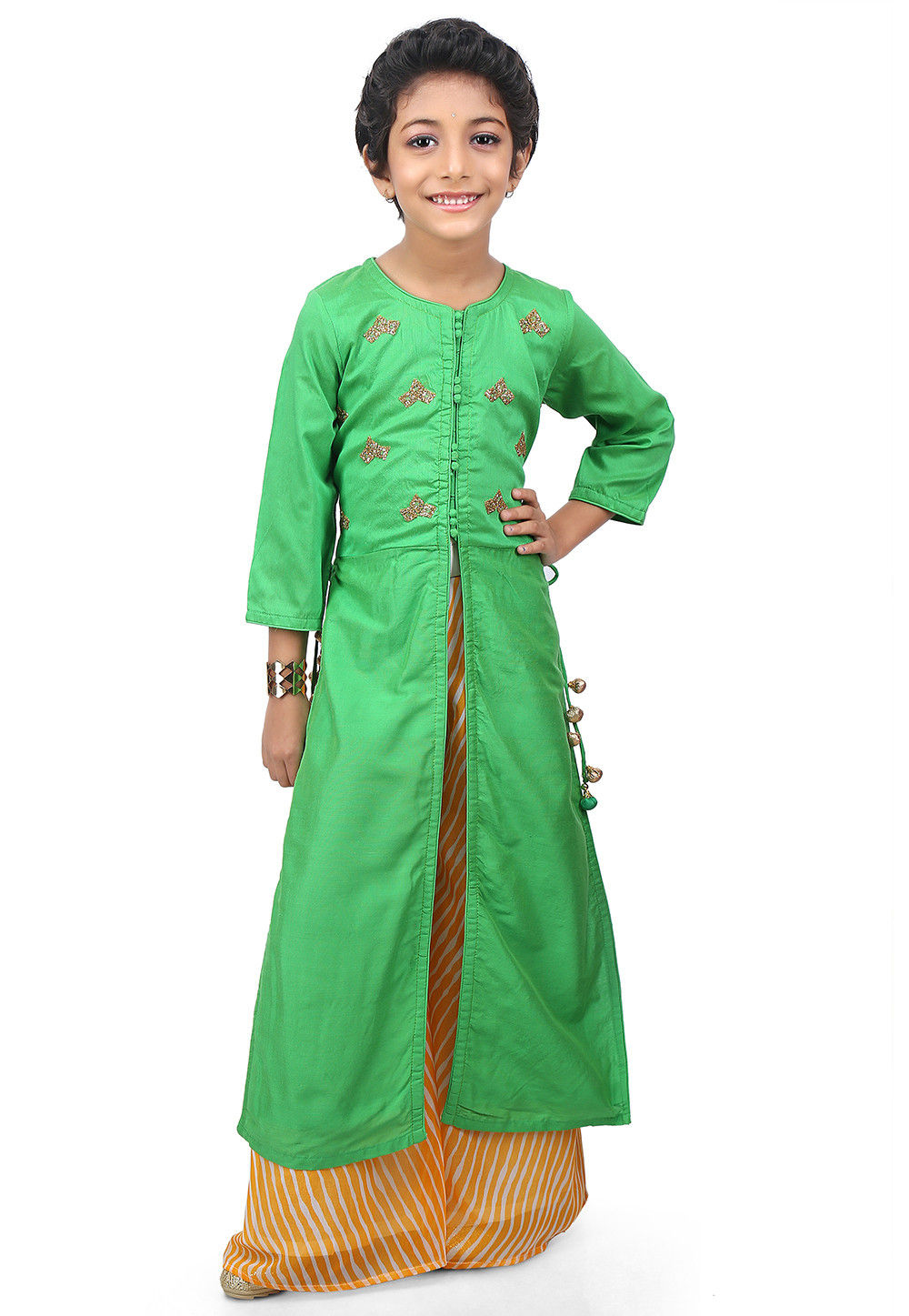 Embroidered Cotton Silk Jacket Style Long Kurta Set in Green