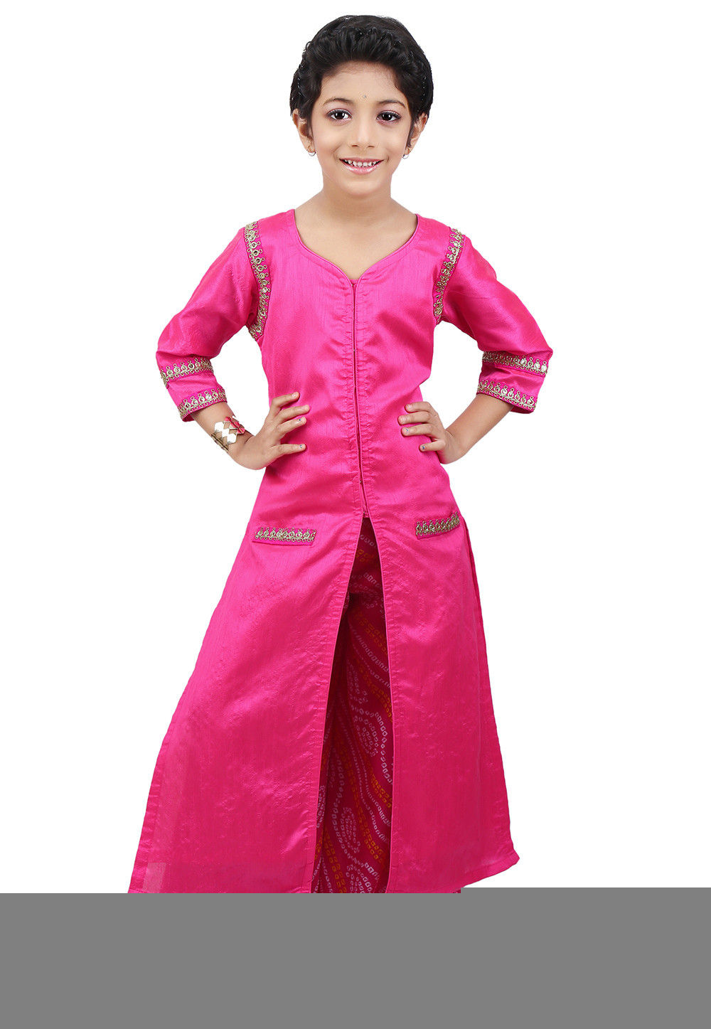 Plain Art Dupion Silk Jacket Style Long Kurta Set in Fuchsia