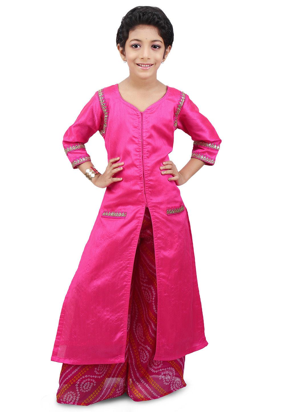 Plain Art Dupion Silk Jacket Style Long Kurta Set in Fuchsia