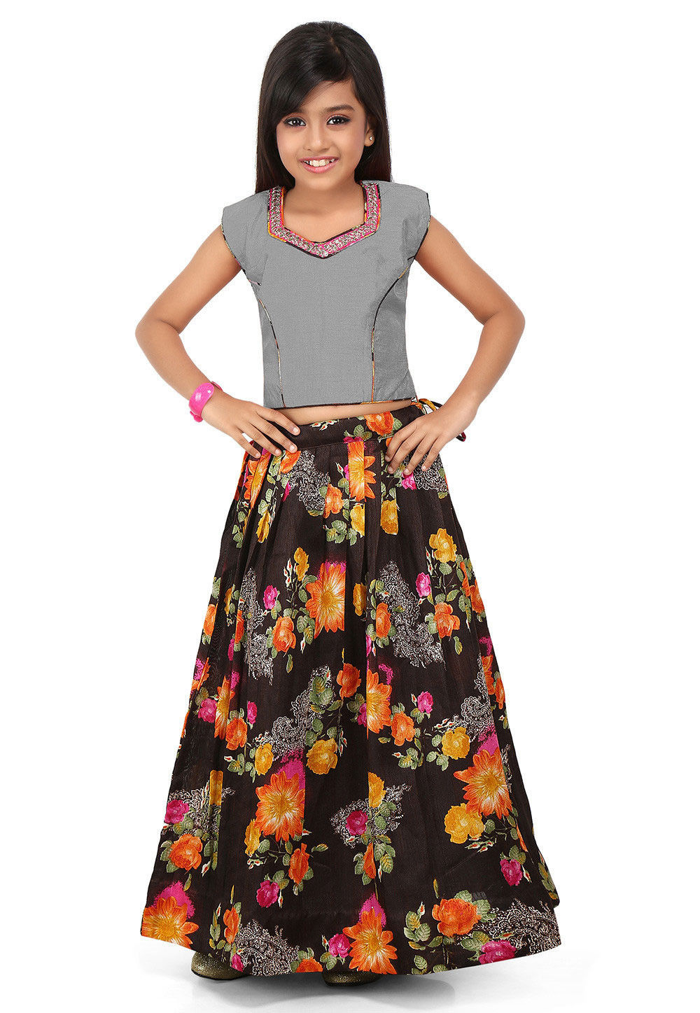 Printed Art Bhagalpuri Silk Pleated Lehenga in Black