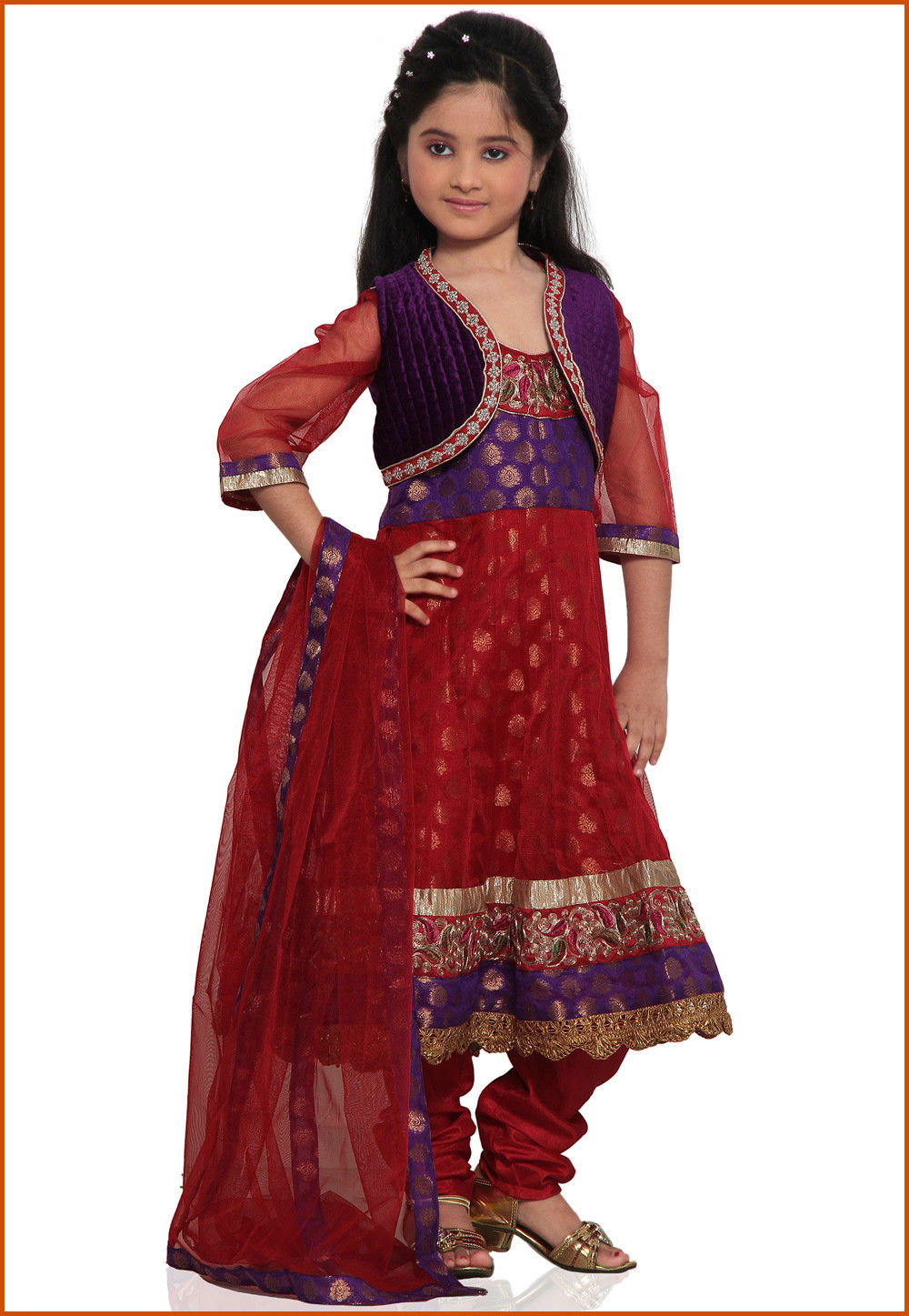 Embroidered Net and Chanderi Brocade Salwar Set in Red