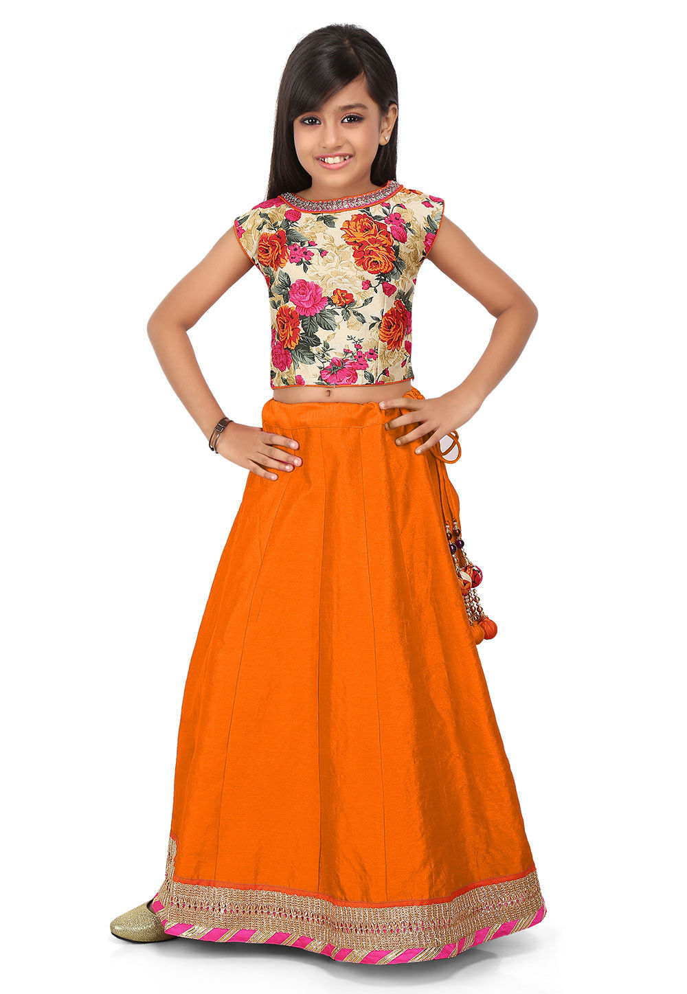 Patch Border Art Dupion Silk Circular Lehenga in Orange