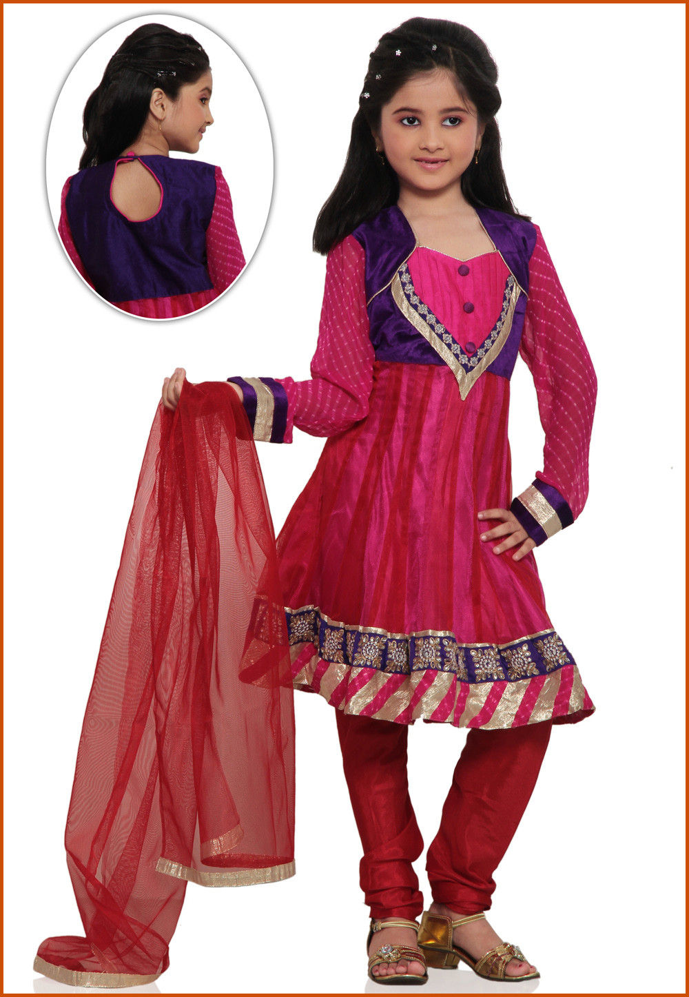 Embroidered Net Salwar Set in Fuchsia