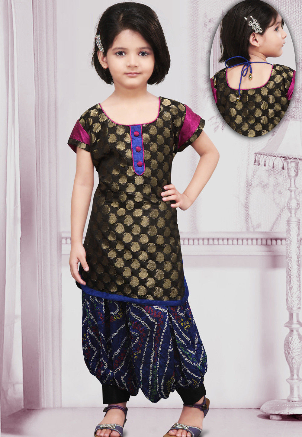 Chanderi silk Salwar Set in Black