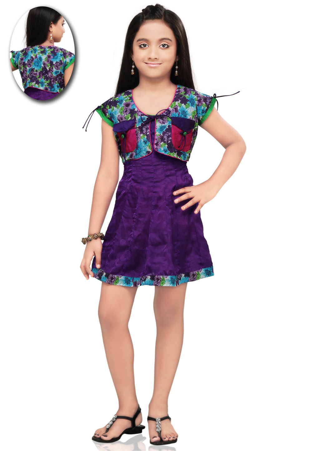 Printed Chiffon and Cotton Dress in Violet