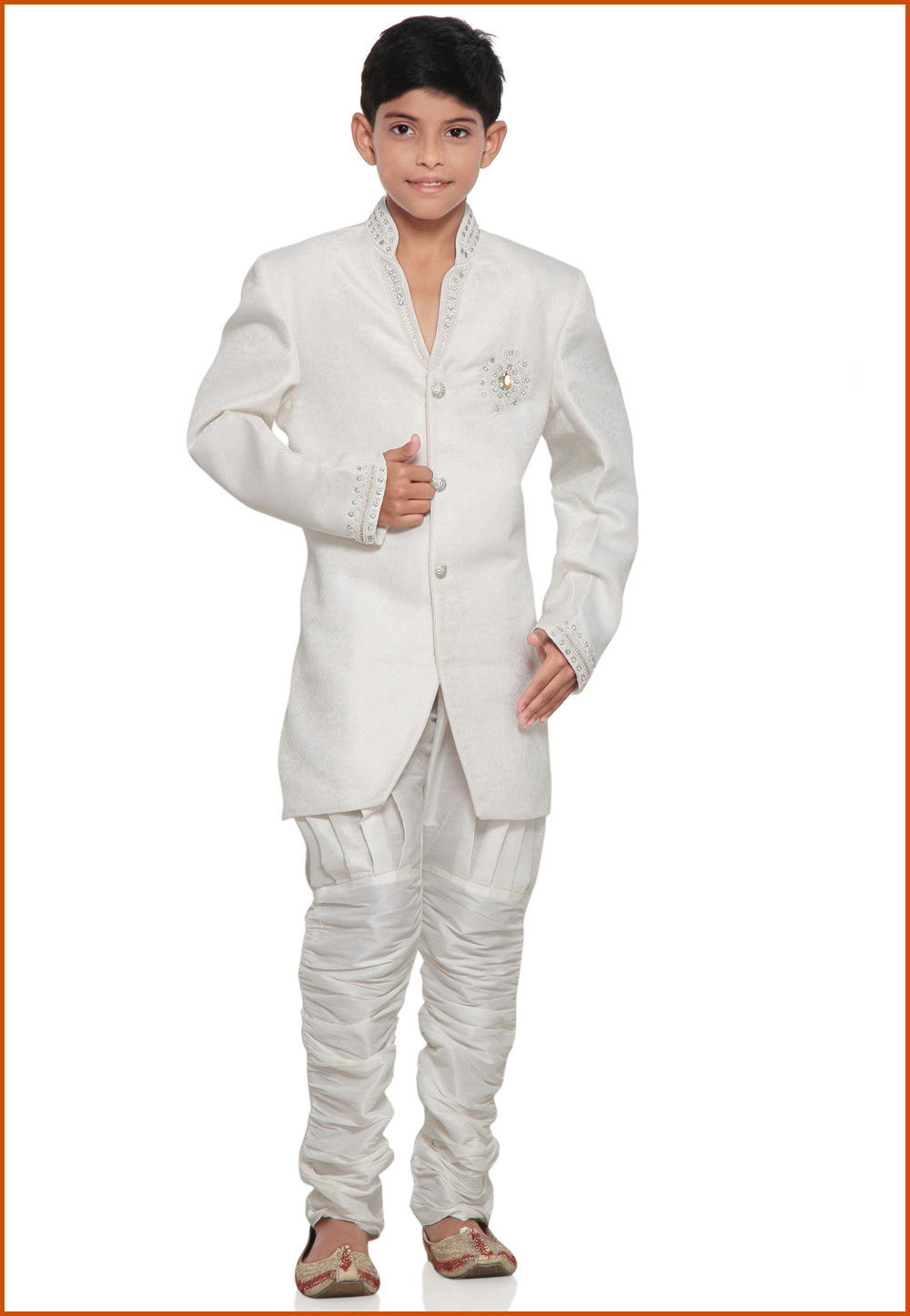 Embroidered Brocade Sherwani set in Off White