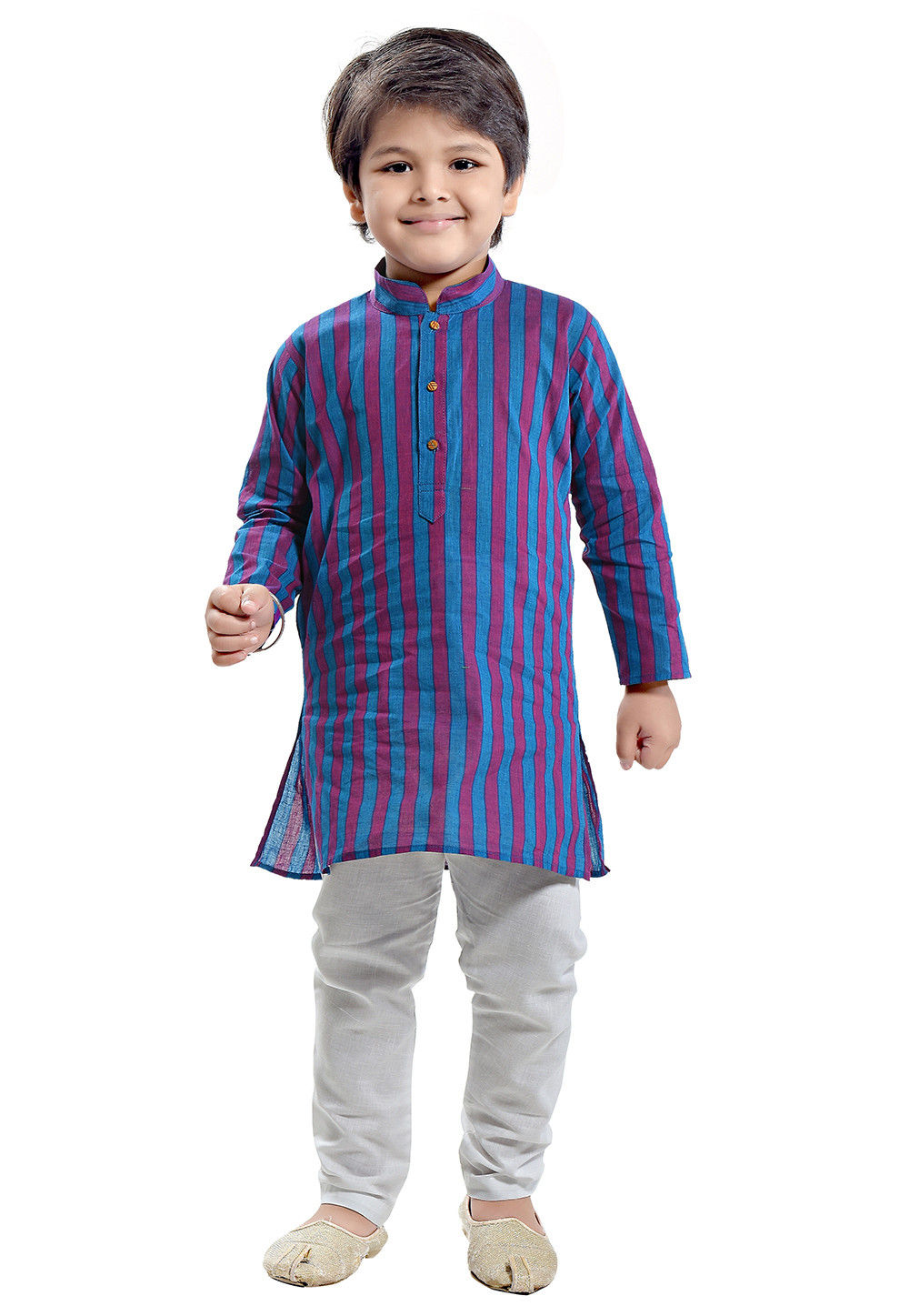 Woven Cotton Kurta Set in Blue and Magenta