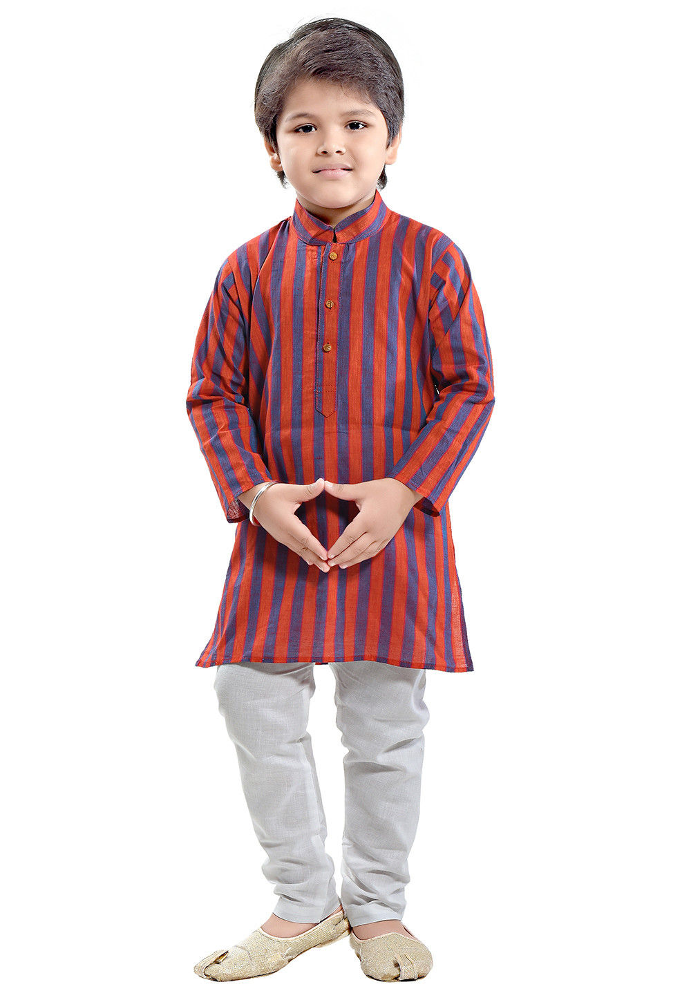 Woven Cotton Kurta Set in Red and Blue