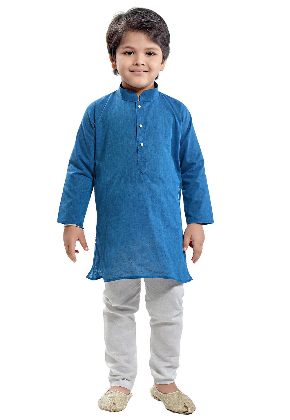 Plain Cotton Linen Kurta Set in Teal Blue