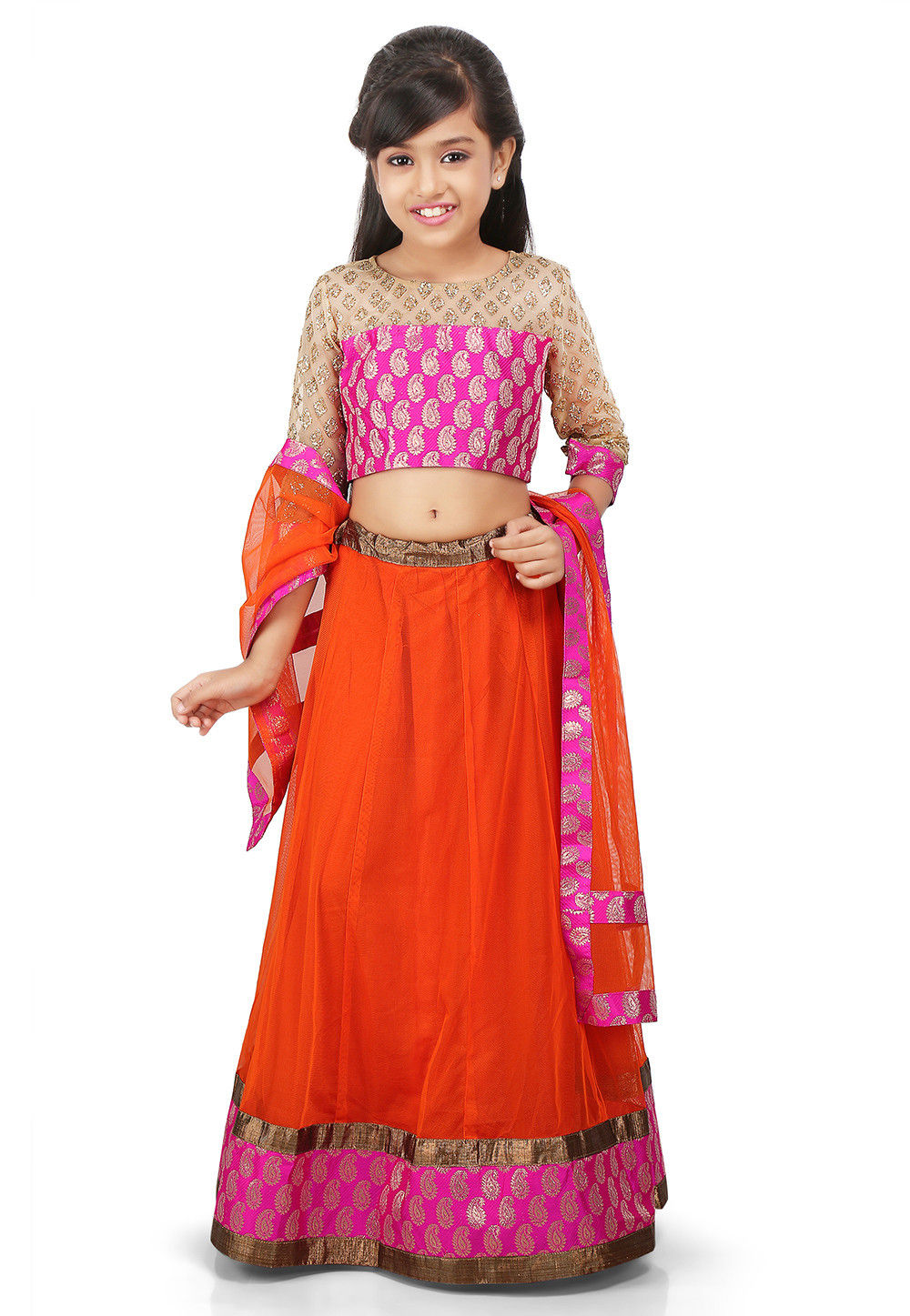 Plain Net Circular Lehenga in Orange