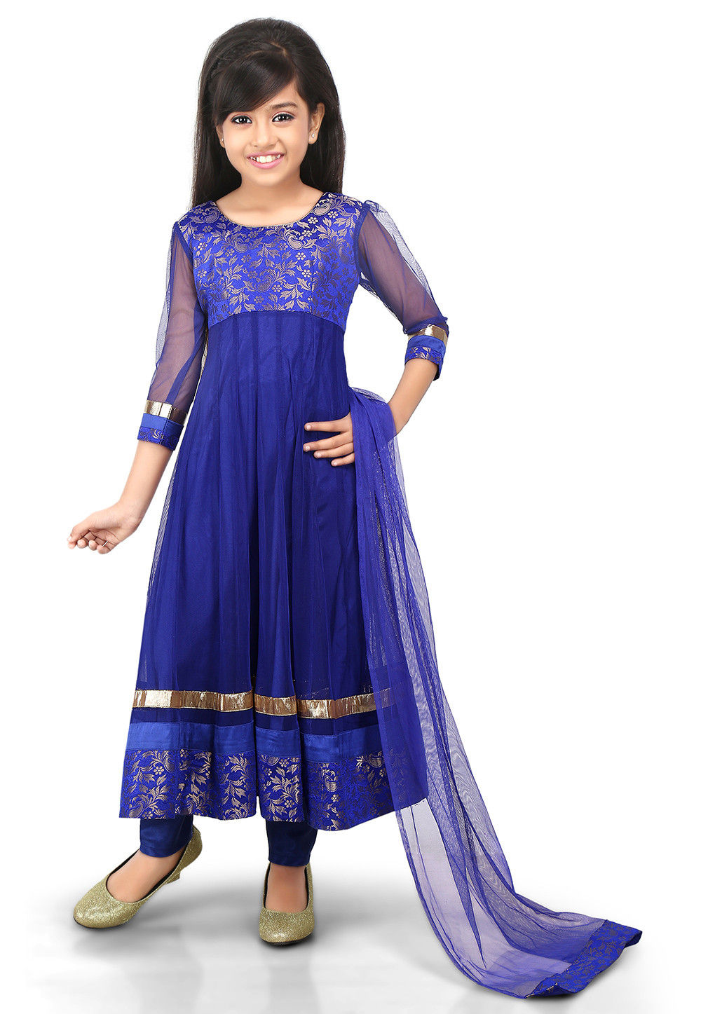 Woven Net and Art Silk Jacquard Anarkali Suit in Blue