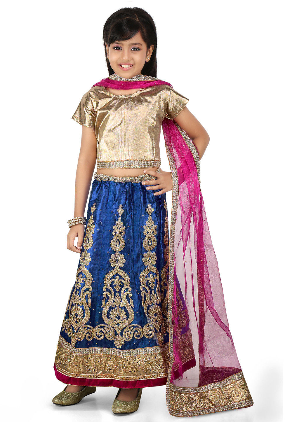 Embroidered Net A Line Lehenga in Blue
