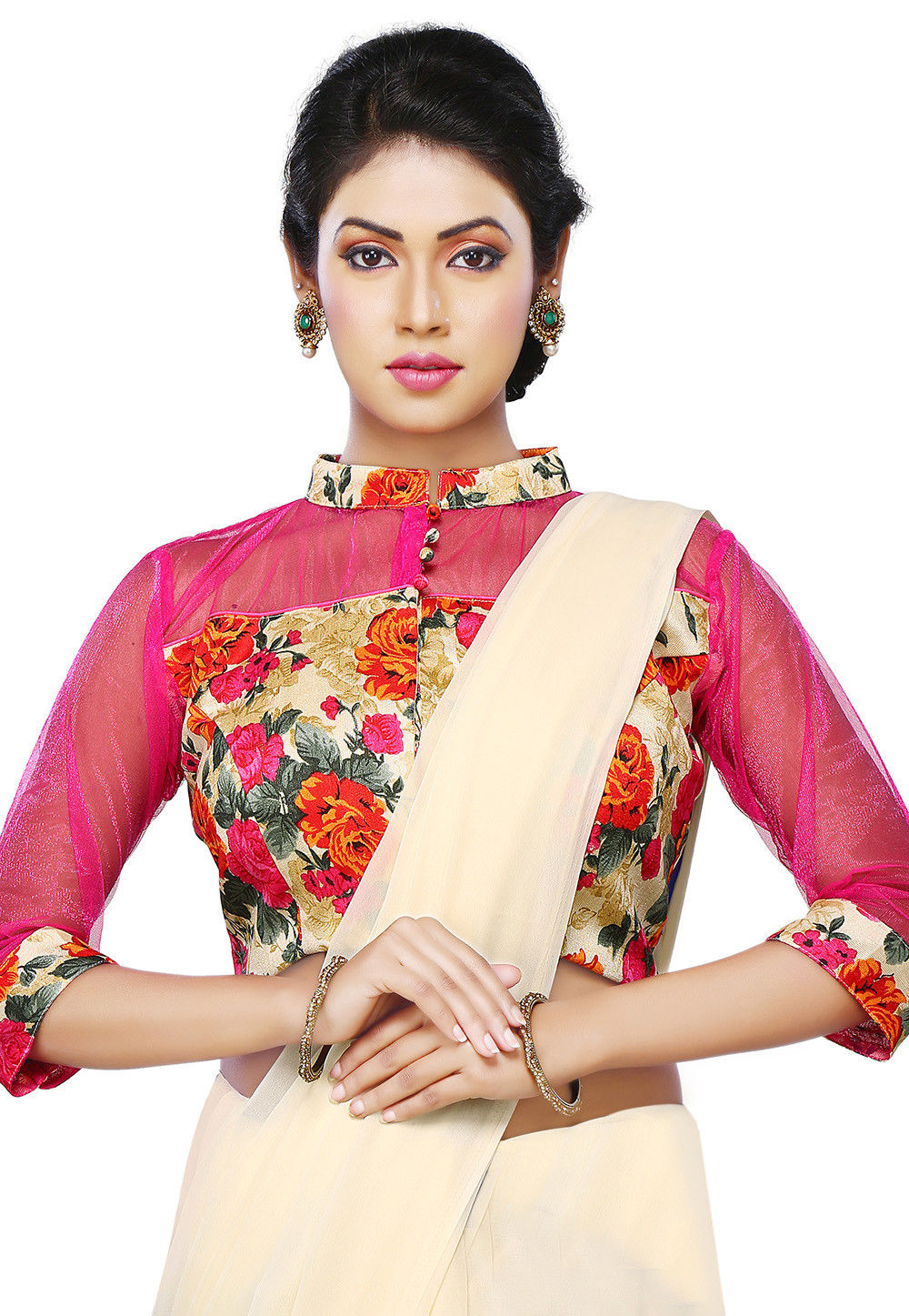 Floral Printed Bhagalpuri Silk Blouse in Pink and Beige