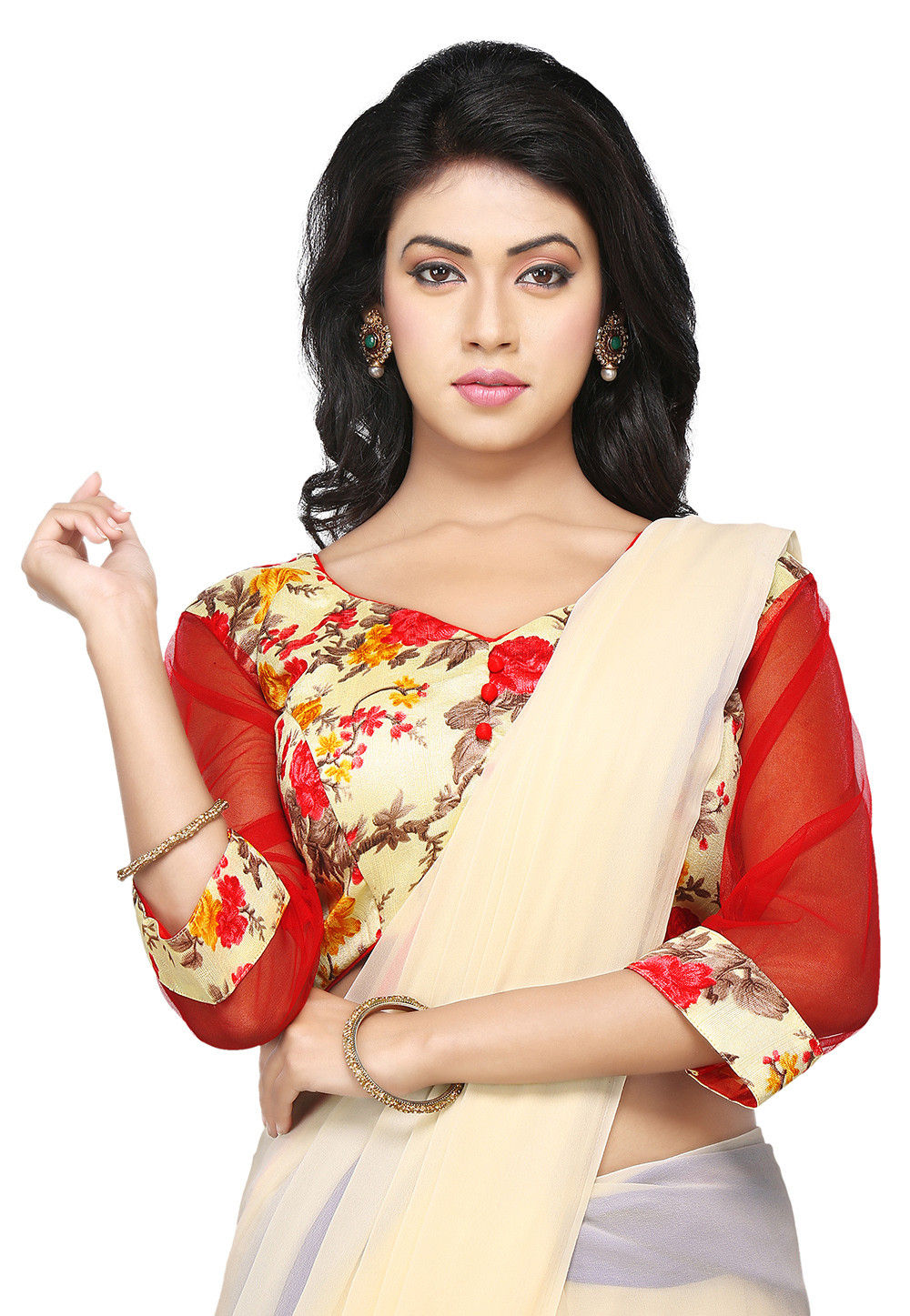 Floral Printed Bhagalpuri Silk Blouse in Cream and Red