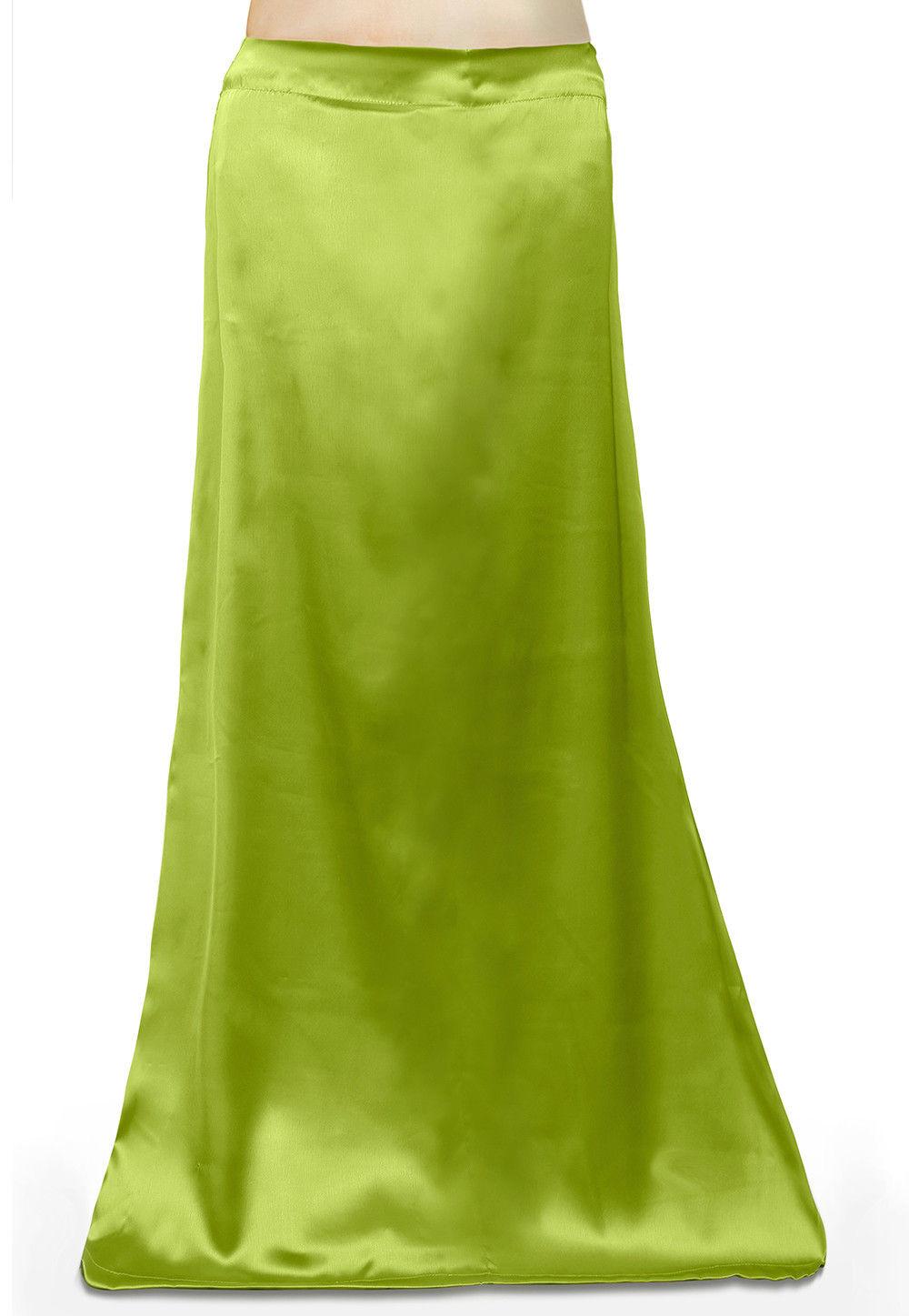 Plain Satin Readymade Petticoat in Light Green