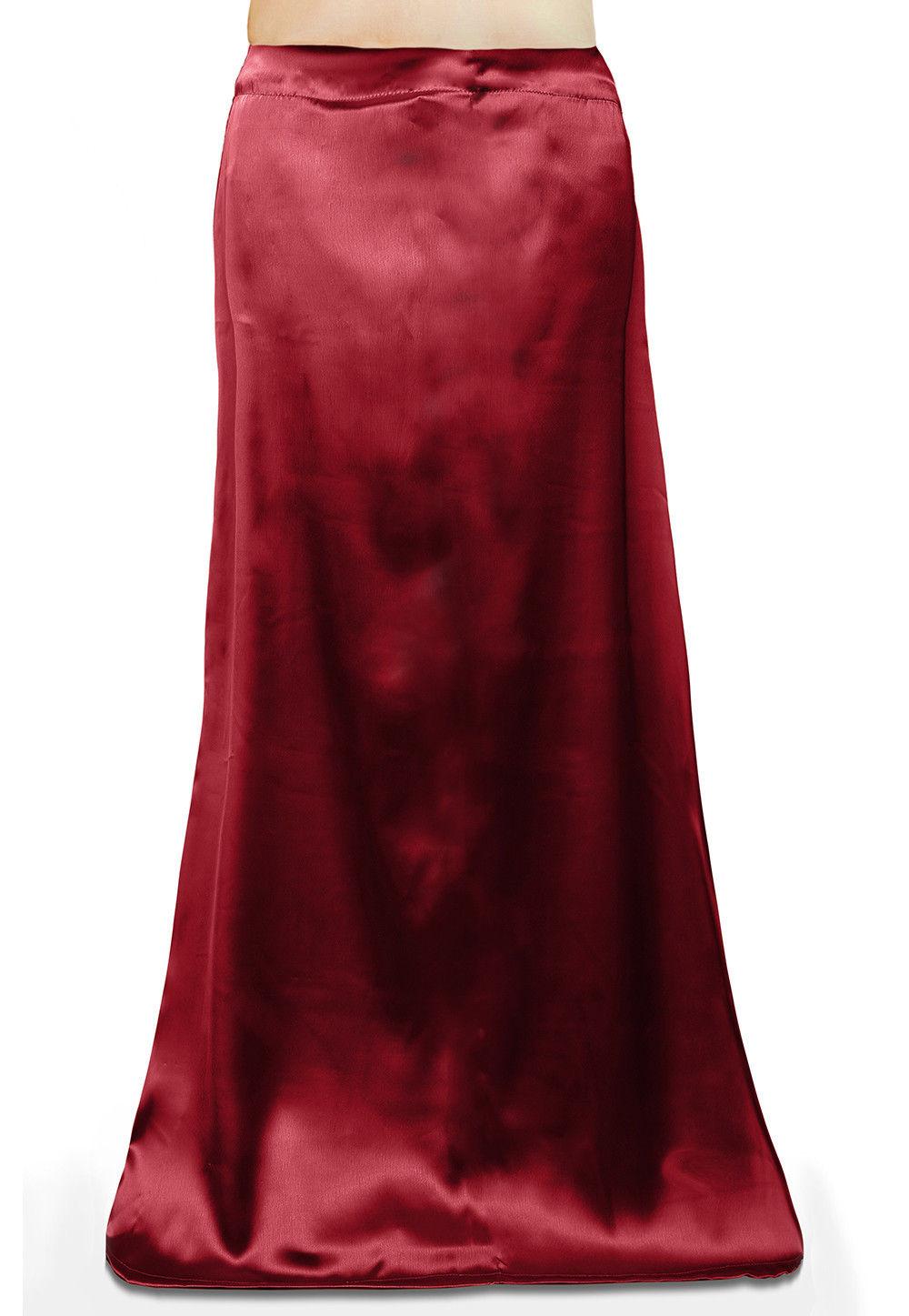Plain Satin Readymade Petticoat in Maroon