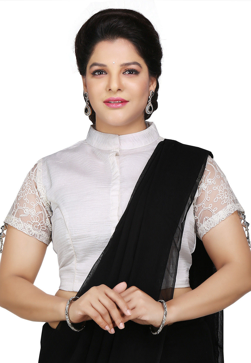 Embroidered Sleeves Art Silk Blouse in Off White