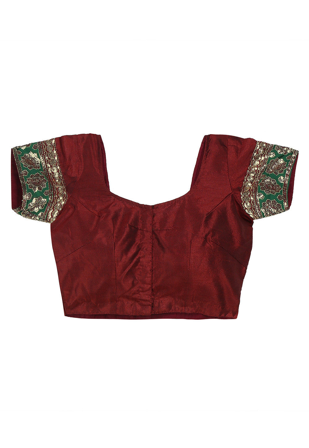 Embroidered Patch Border Art Silk Blouse in Maroon