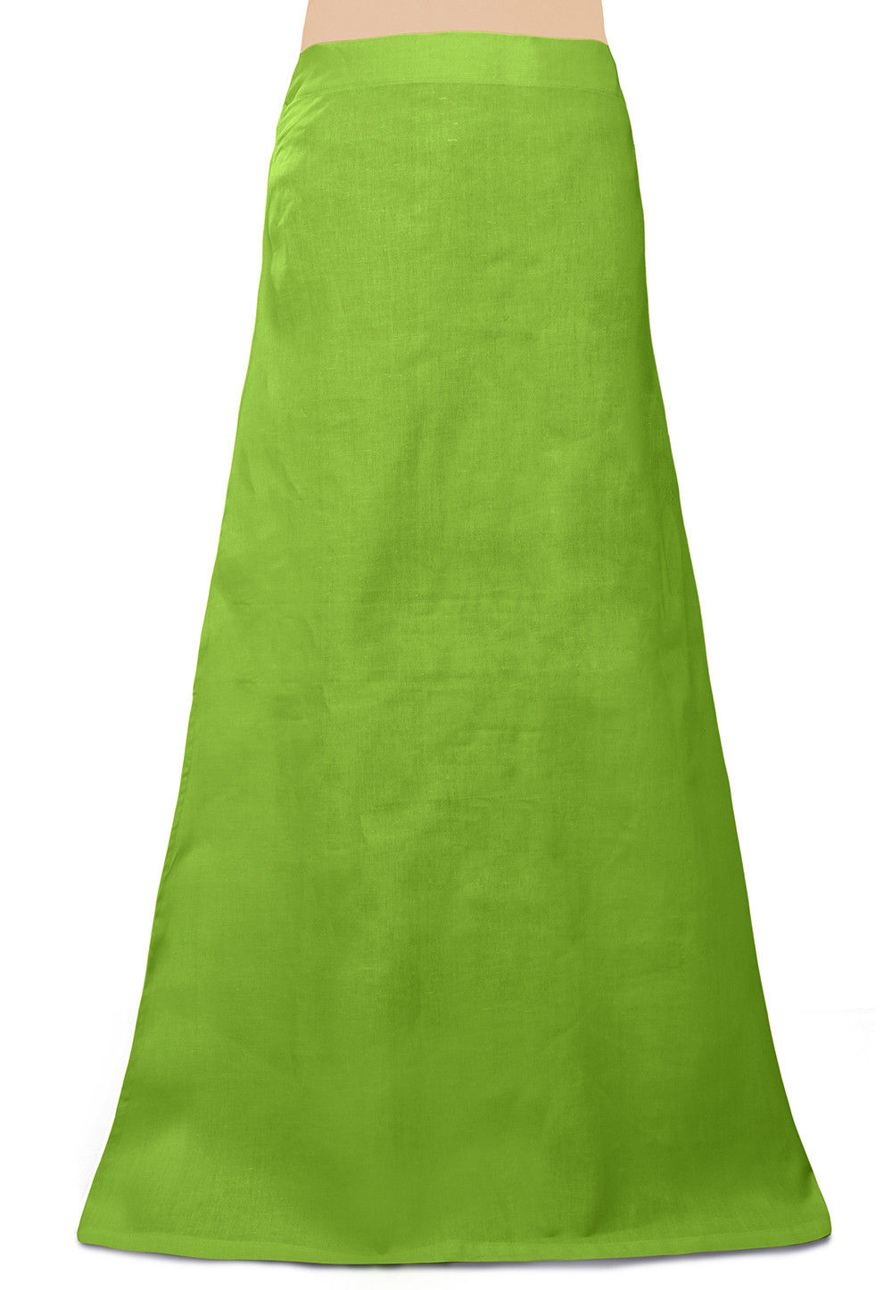 Plain Cotton Readymade Petticoat in Light Green