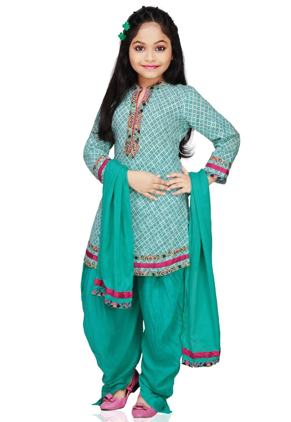 Printed Cotton Salwar Set in Teal Green
