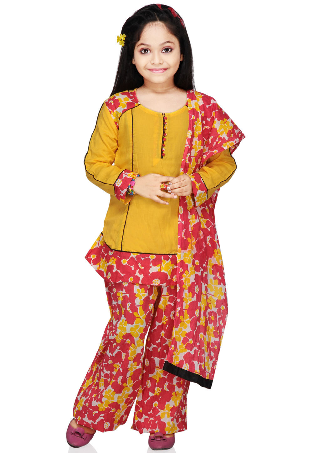 Printed Cotton Salwar Set in Mustard