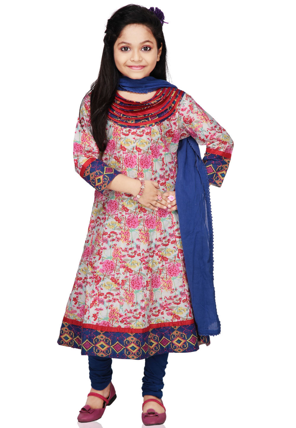 Printed Cotton Salwar Set in Multicolor
