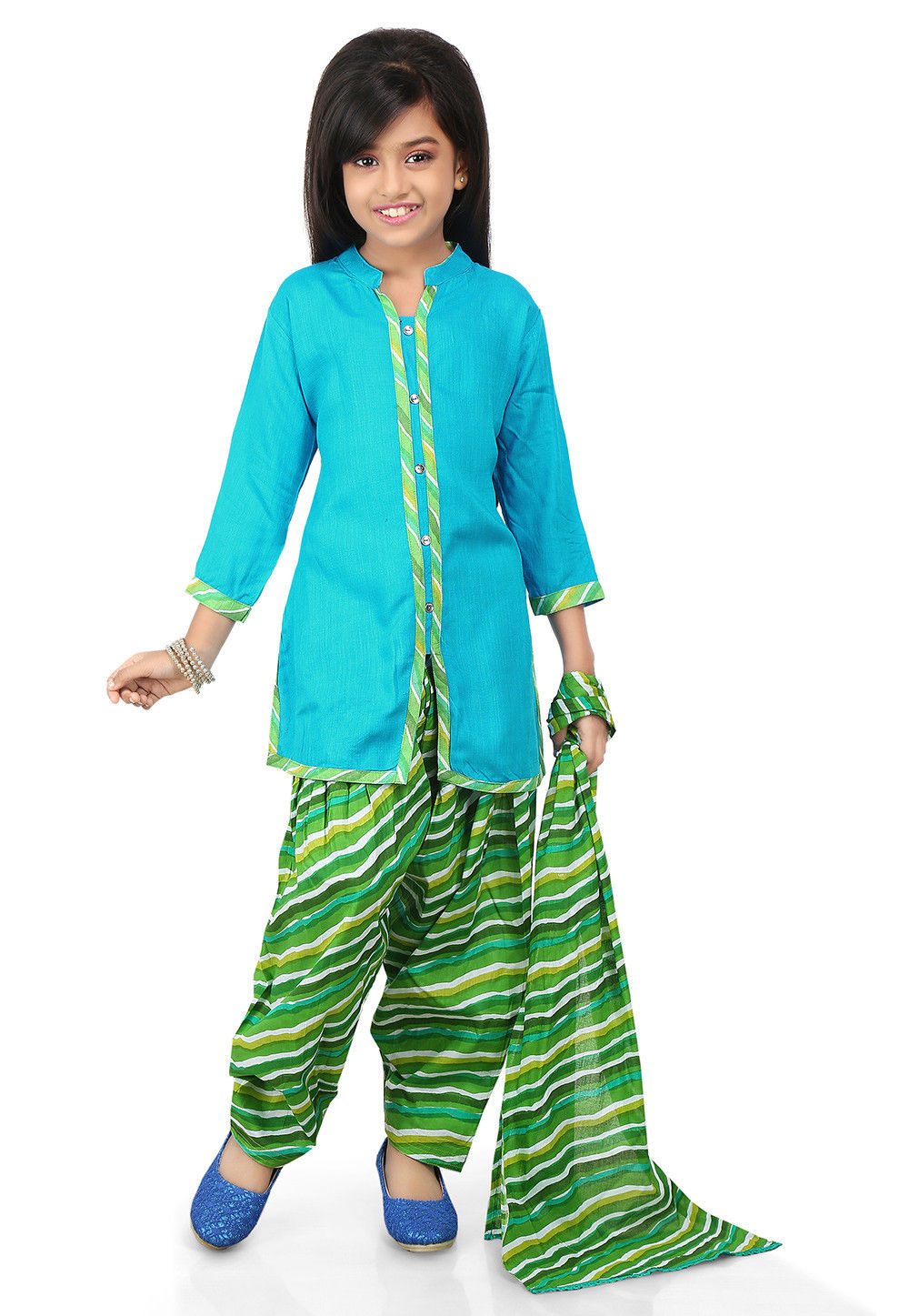Plain Rayon Punjabi Suit in Sky Blue
