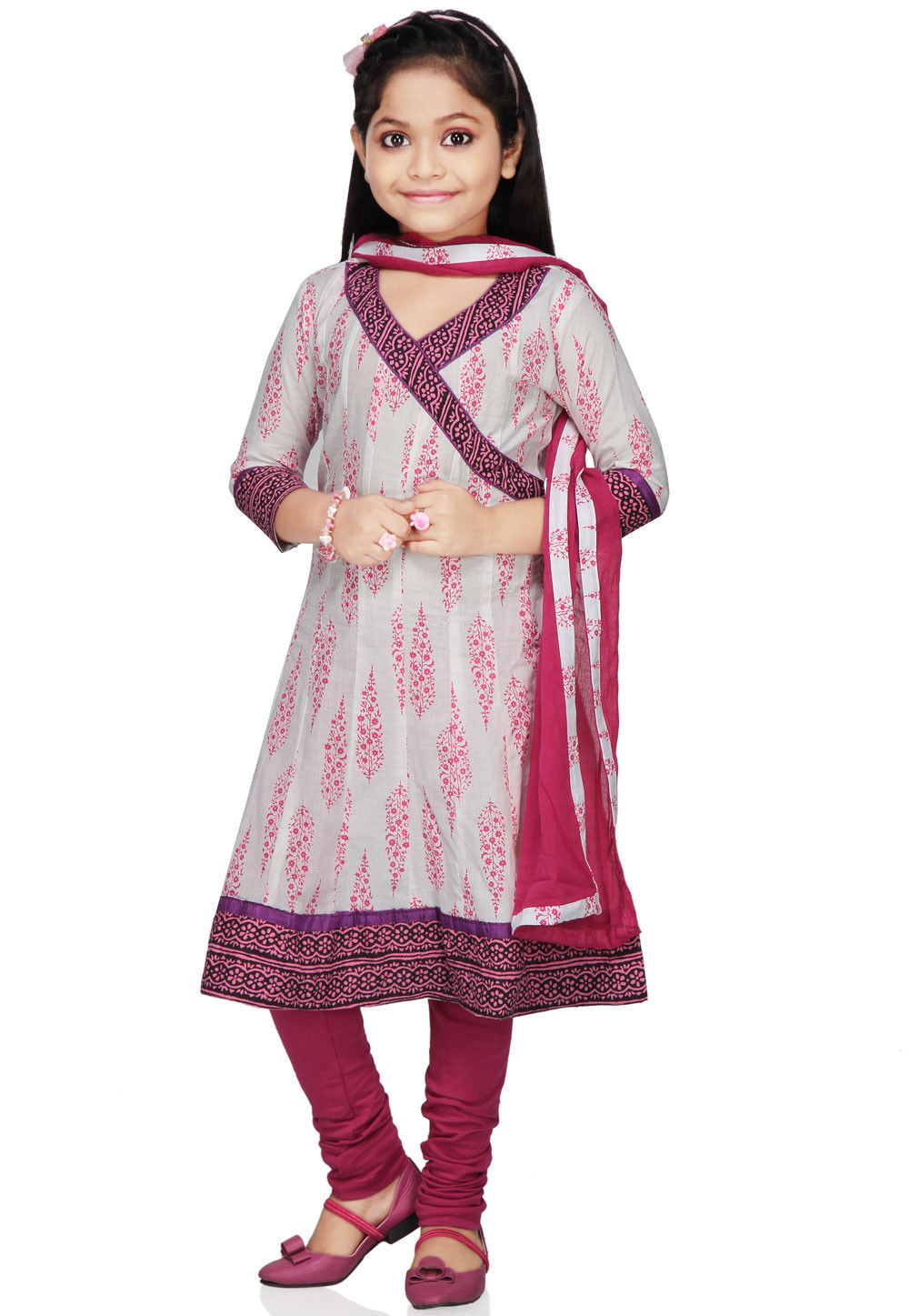 Printed Cotton Salwar Set in White