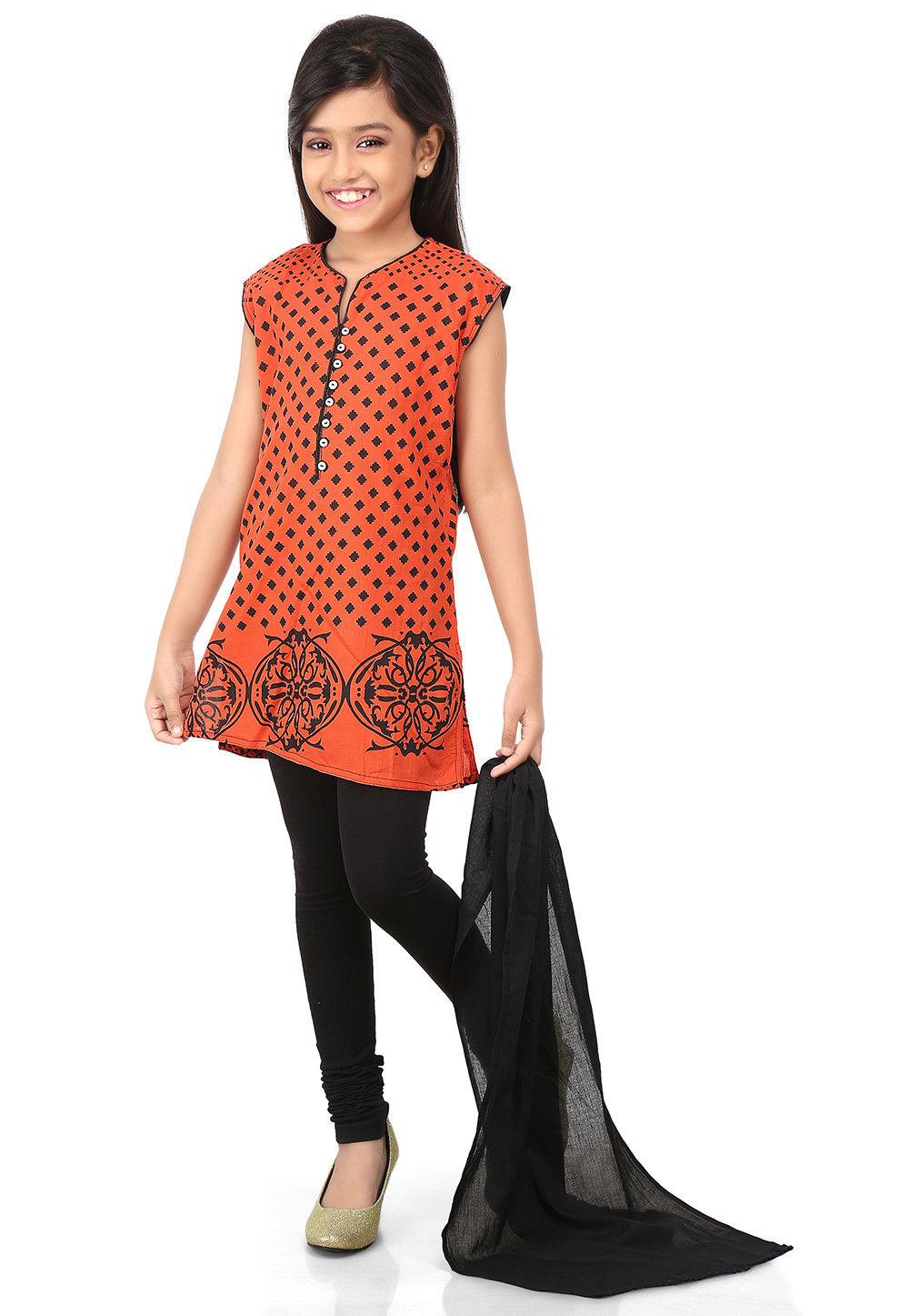 Printed Cotton Straight Cut Suit in Orange