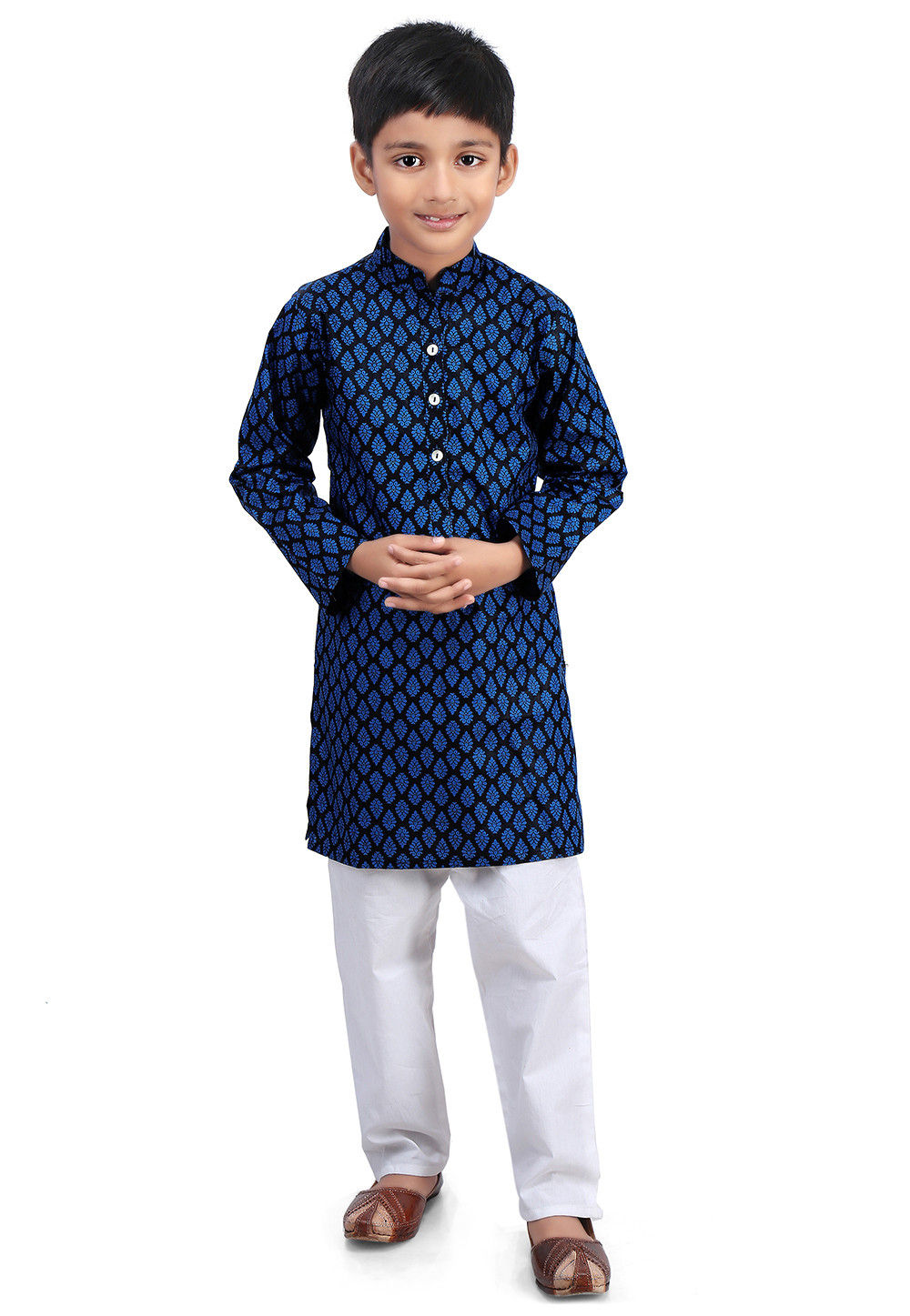 Printed Cotton Kurta Set in Black and Blue