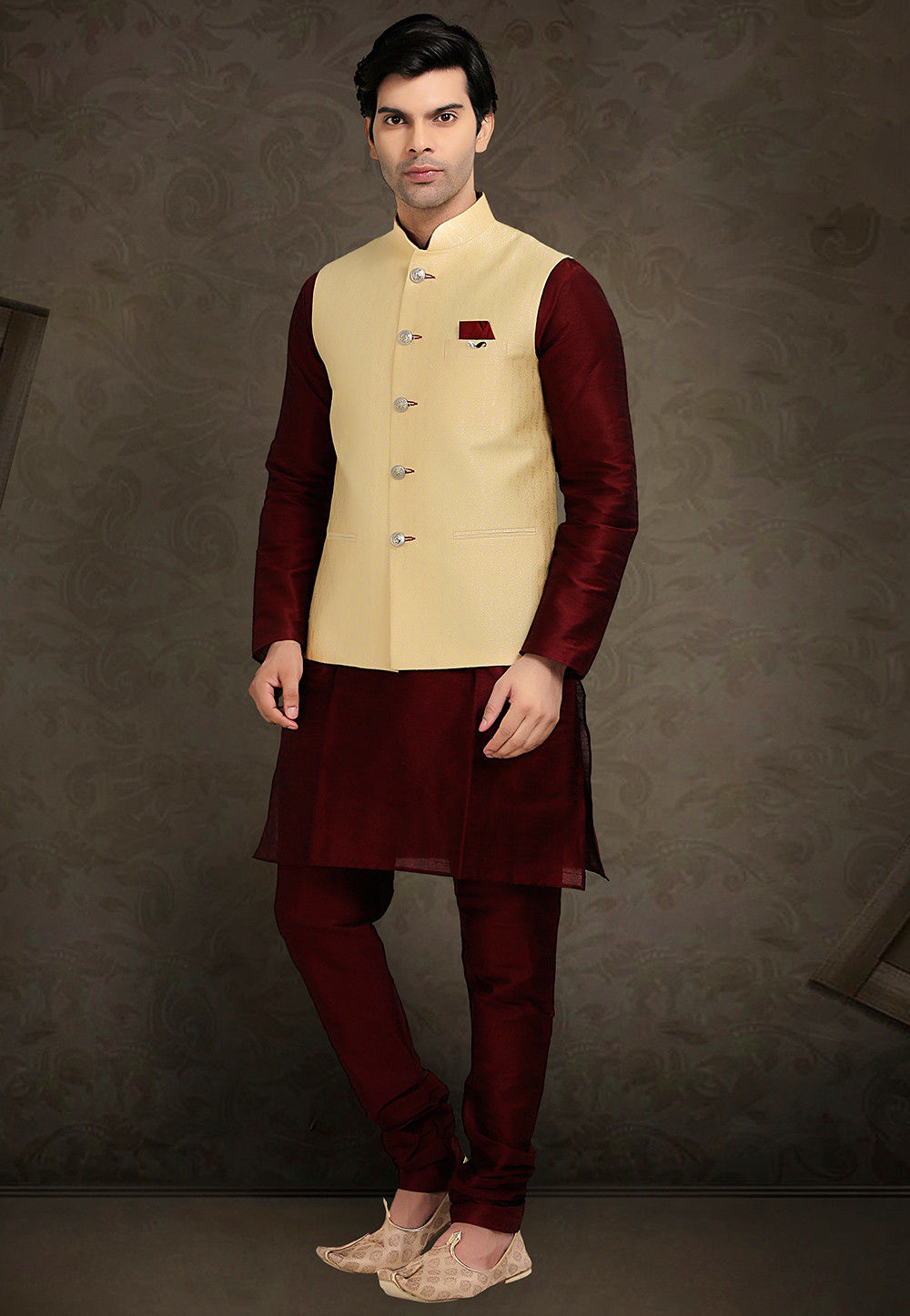 Woven Art Silk Jacquard Nehru Jacket in Light Beige