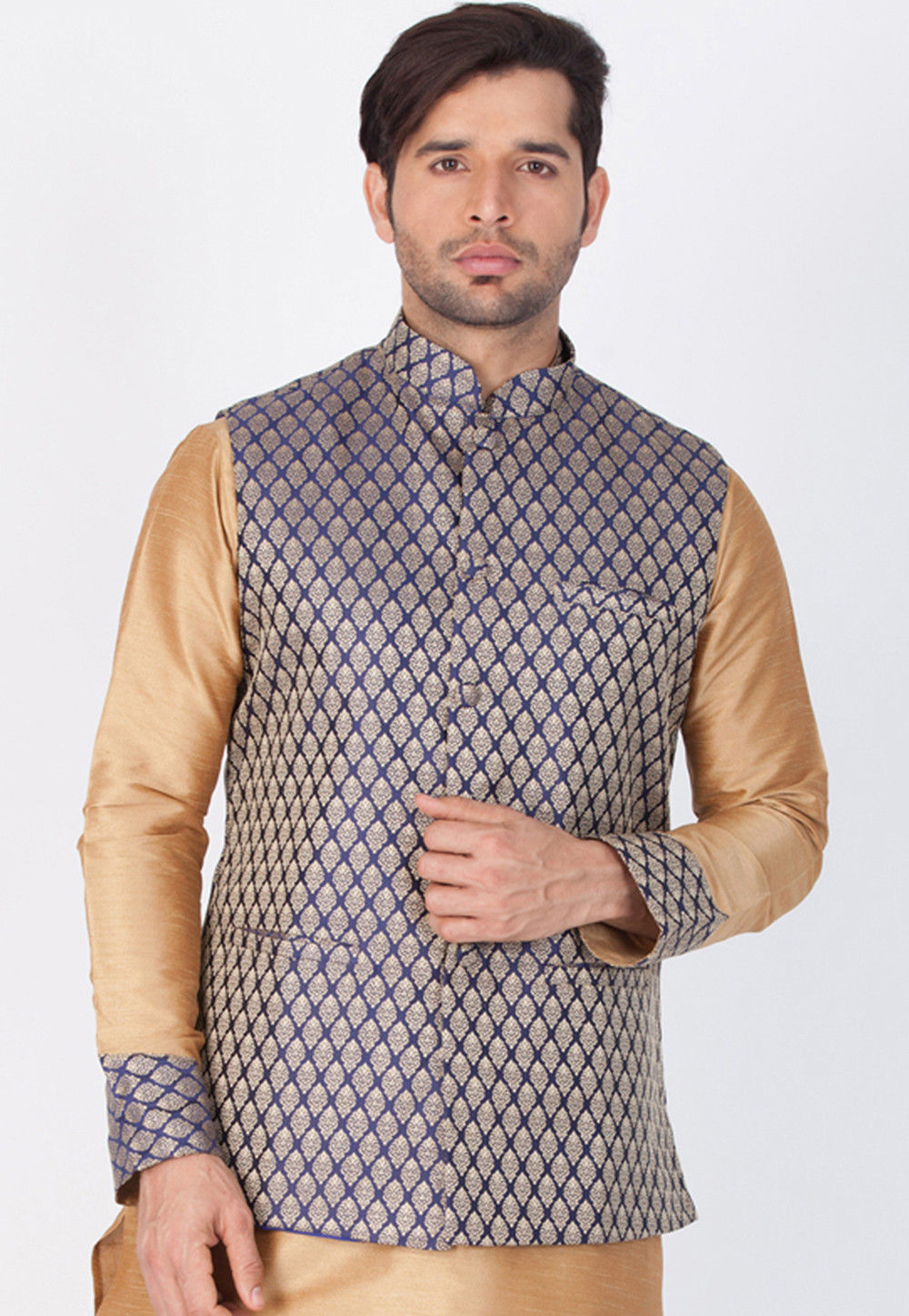 Woven Art Silk Jacquard Nehru Jacket in Navy Blue and Gold